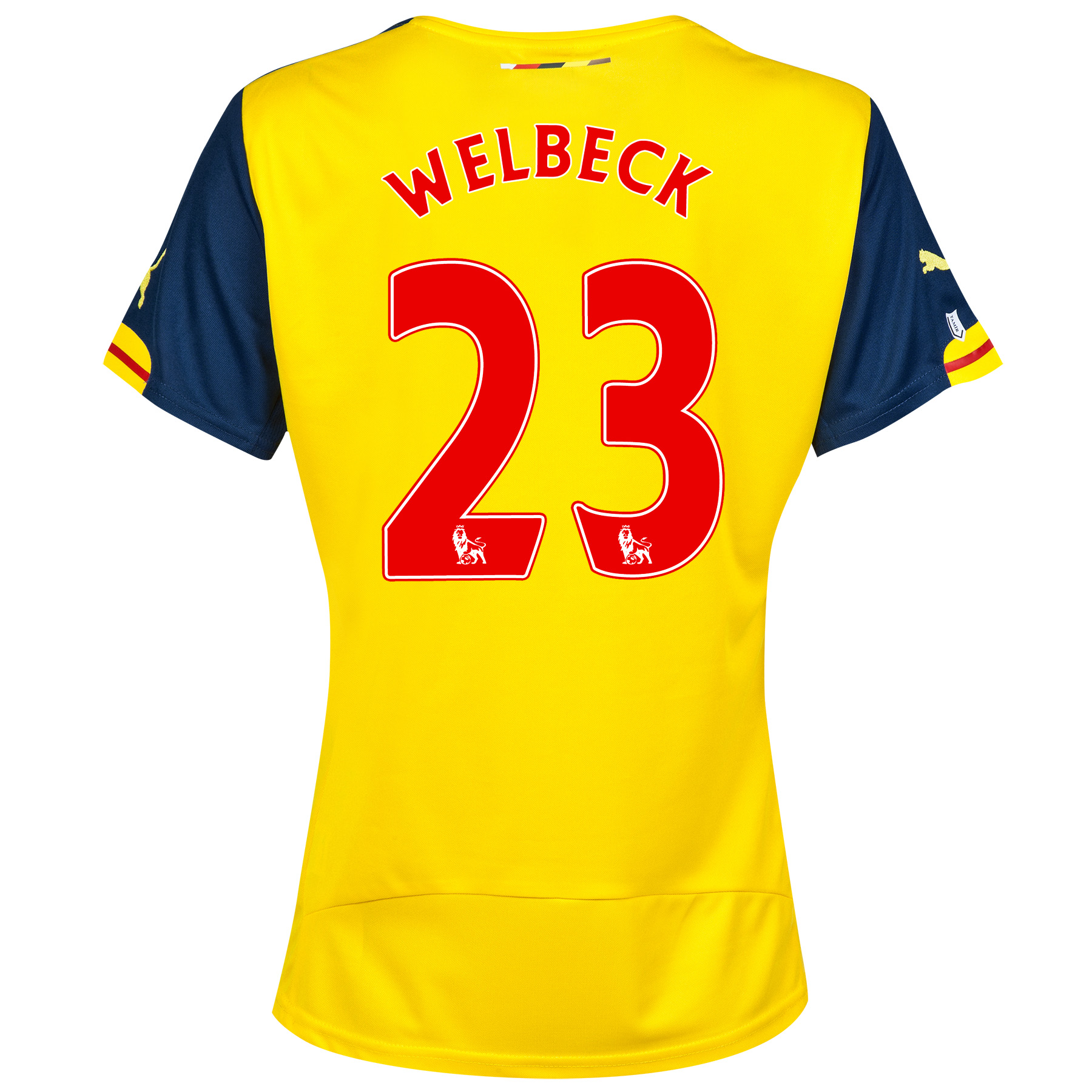 Arsenal Away Shirt 2014/15 - Womens Yellow with Welbeck 23 printing