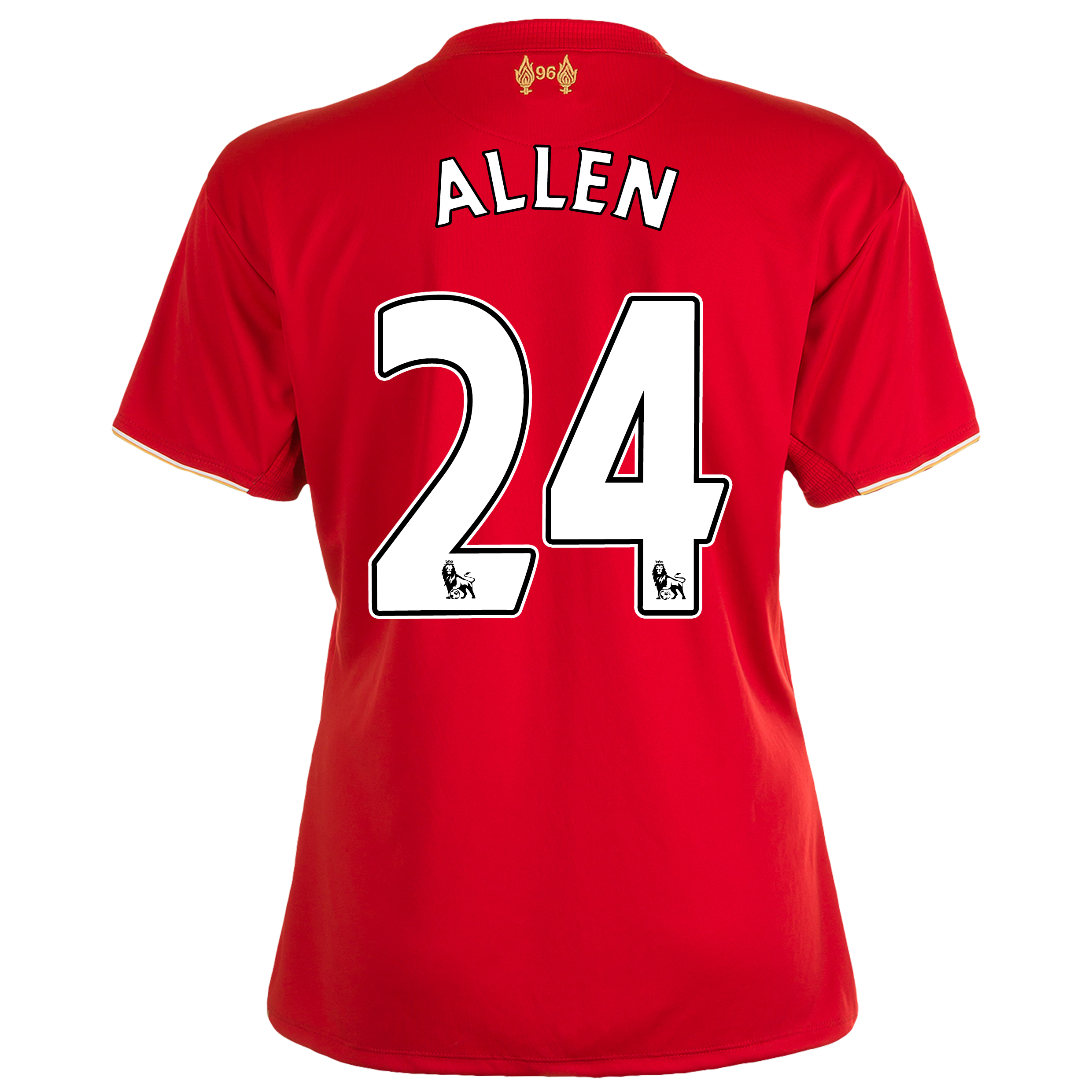 Liverpool Home Shirt 201516  Womens Red with Allen 24 printing
