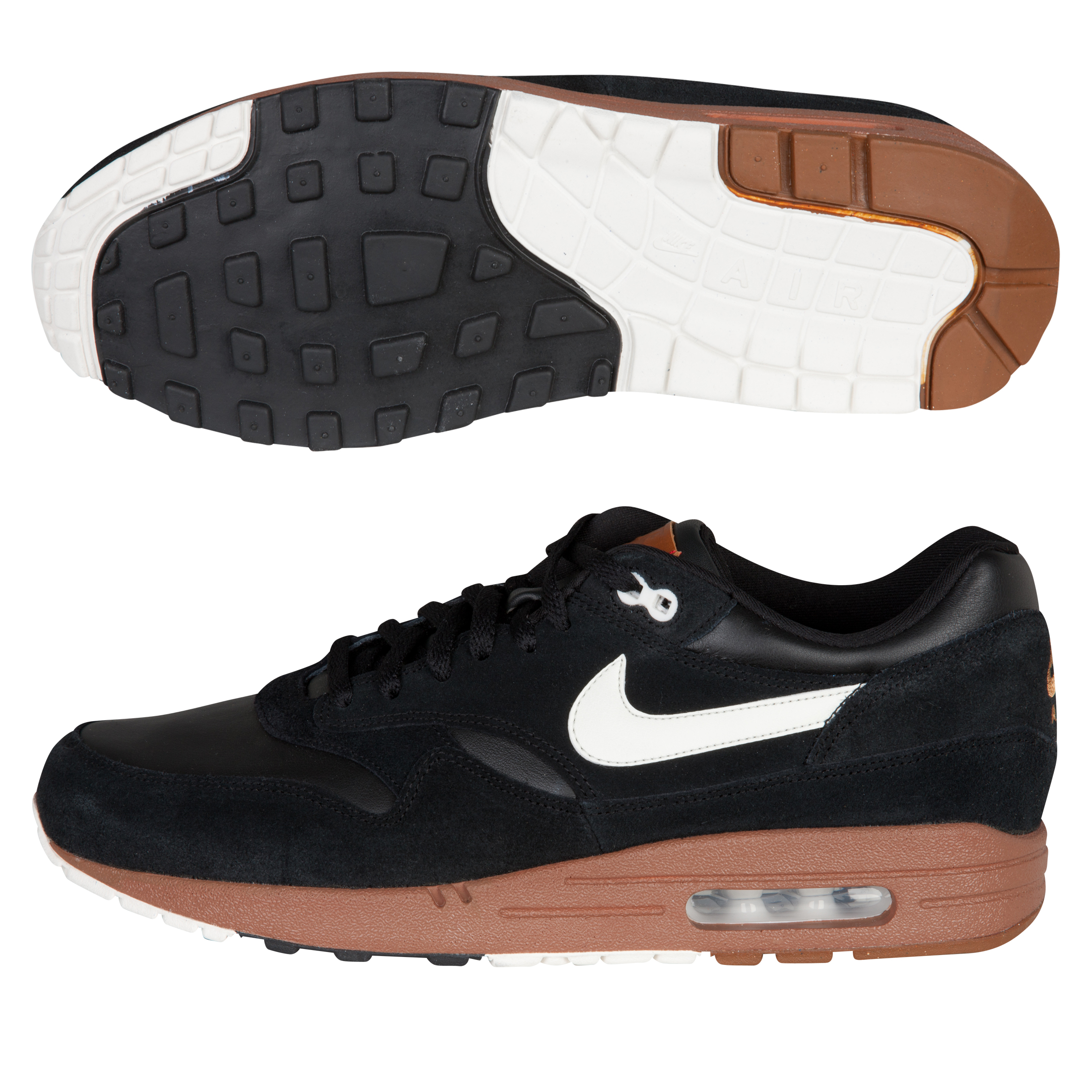 Nike Air Max 1 Premium Trainers - Black/Sail-Hazelnut
