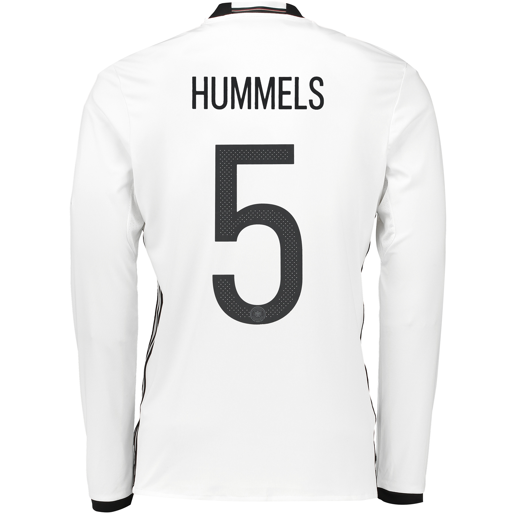 Germany Home Shirt 2016 - Long Sleeve White with Hummels 5 printing