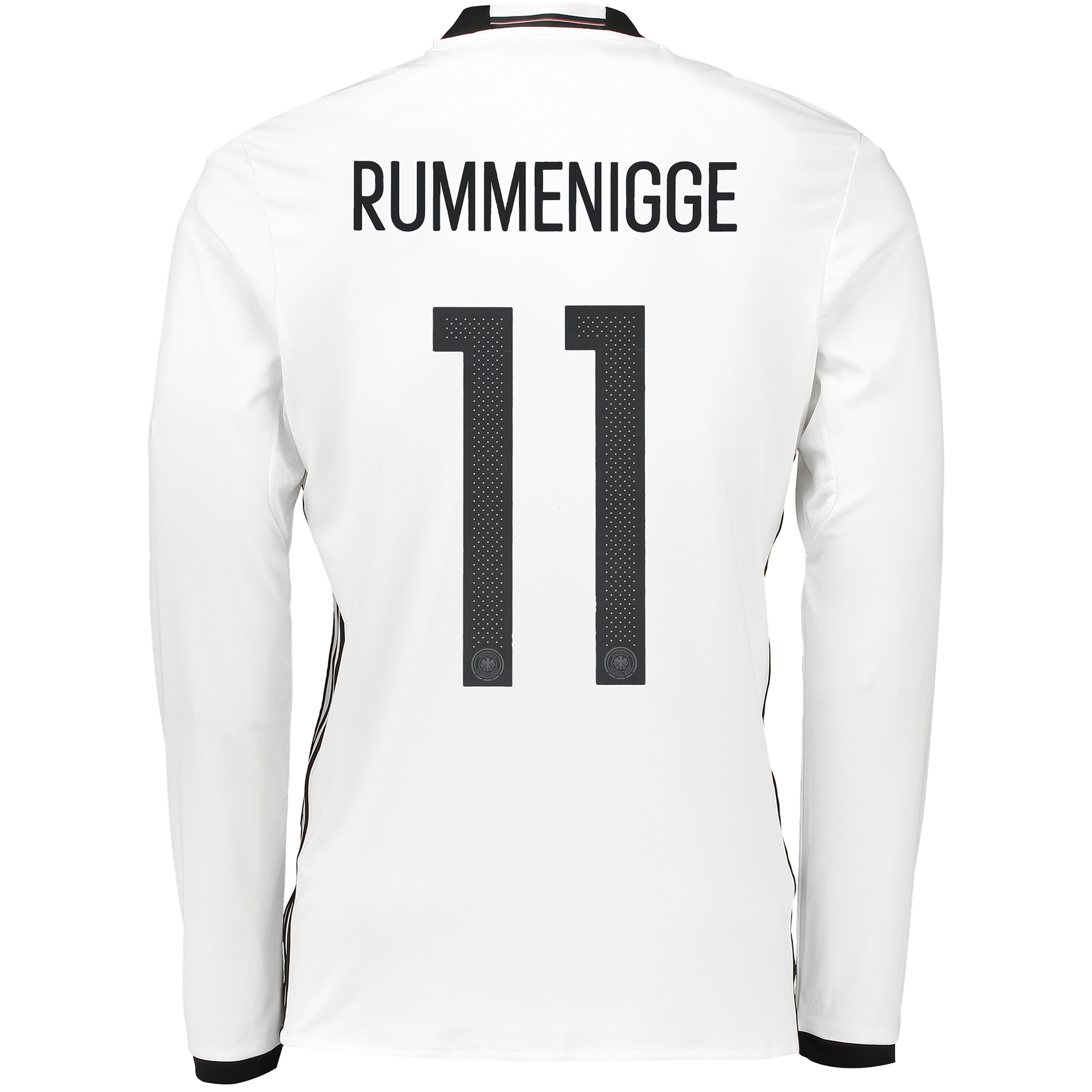 Germany Home Shirt 2016 - Long Sleeve White with Rummenigge 11 printin