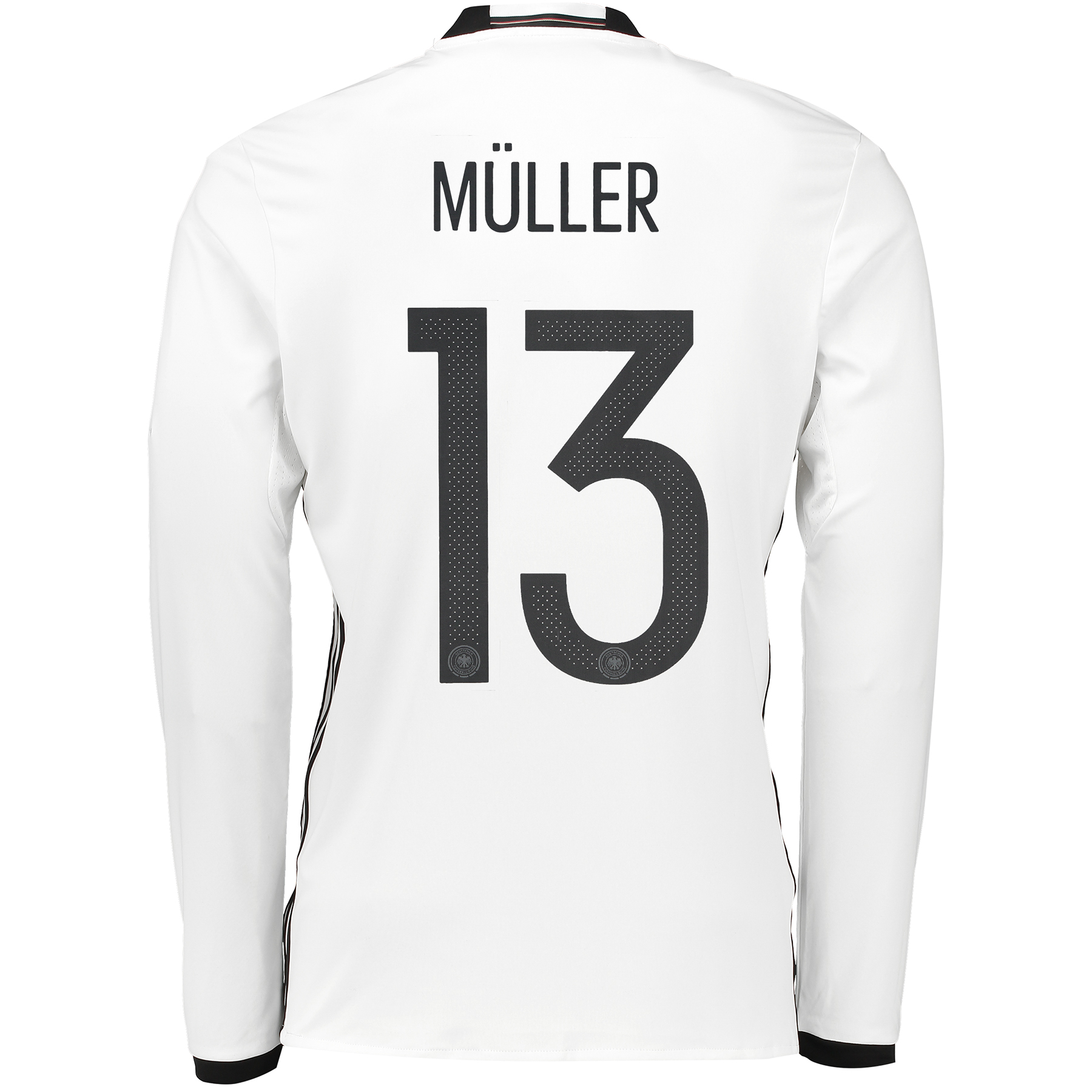 Germany Home Shirt 2016 - Long Sleeve White with Muller 13 printing