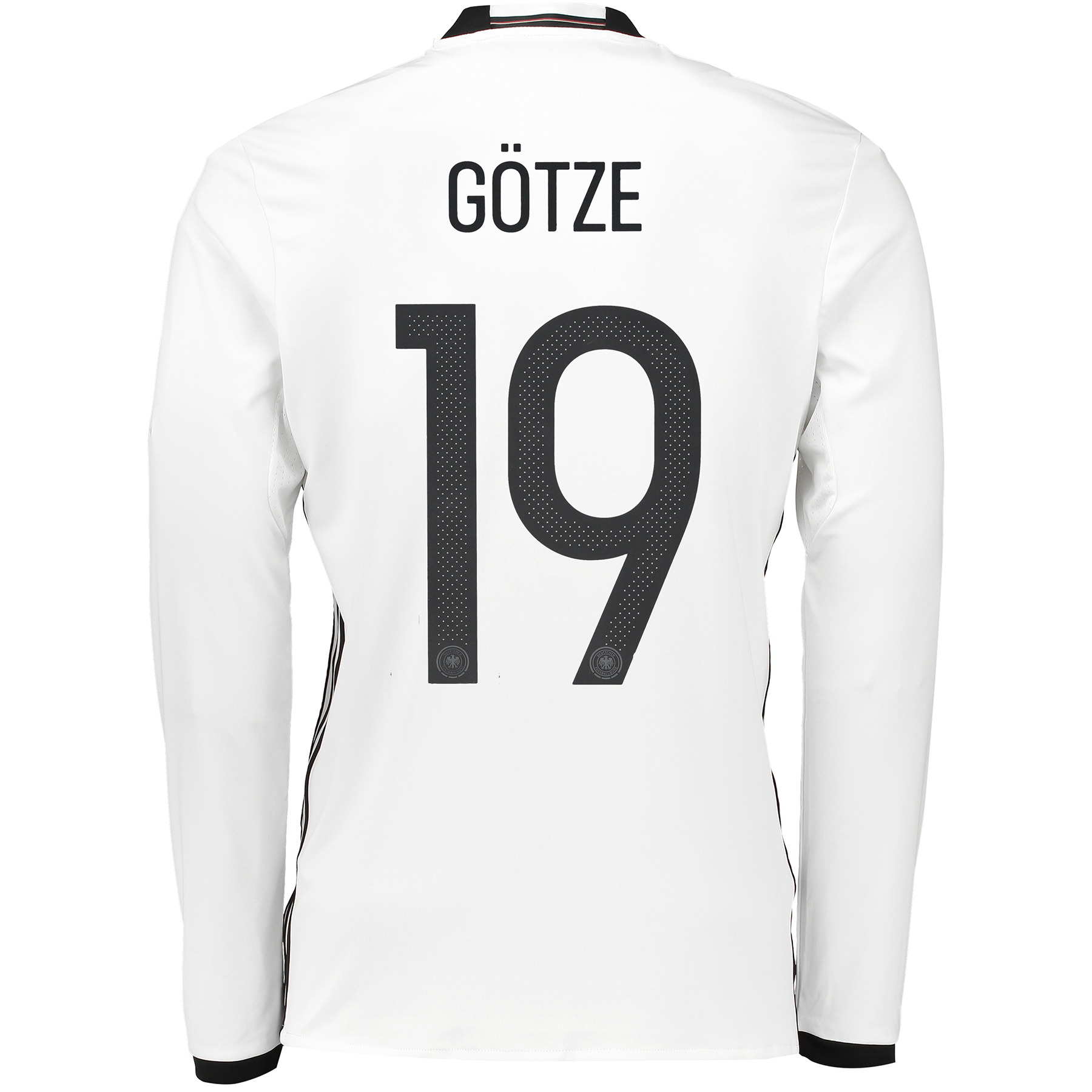 Germany Home Shirt 2016 - Long Sleeve White with Götze 19 printing