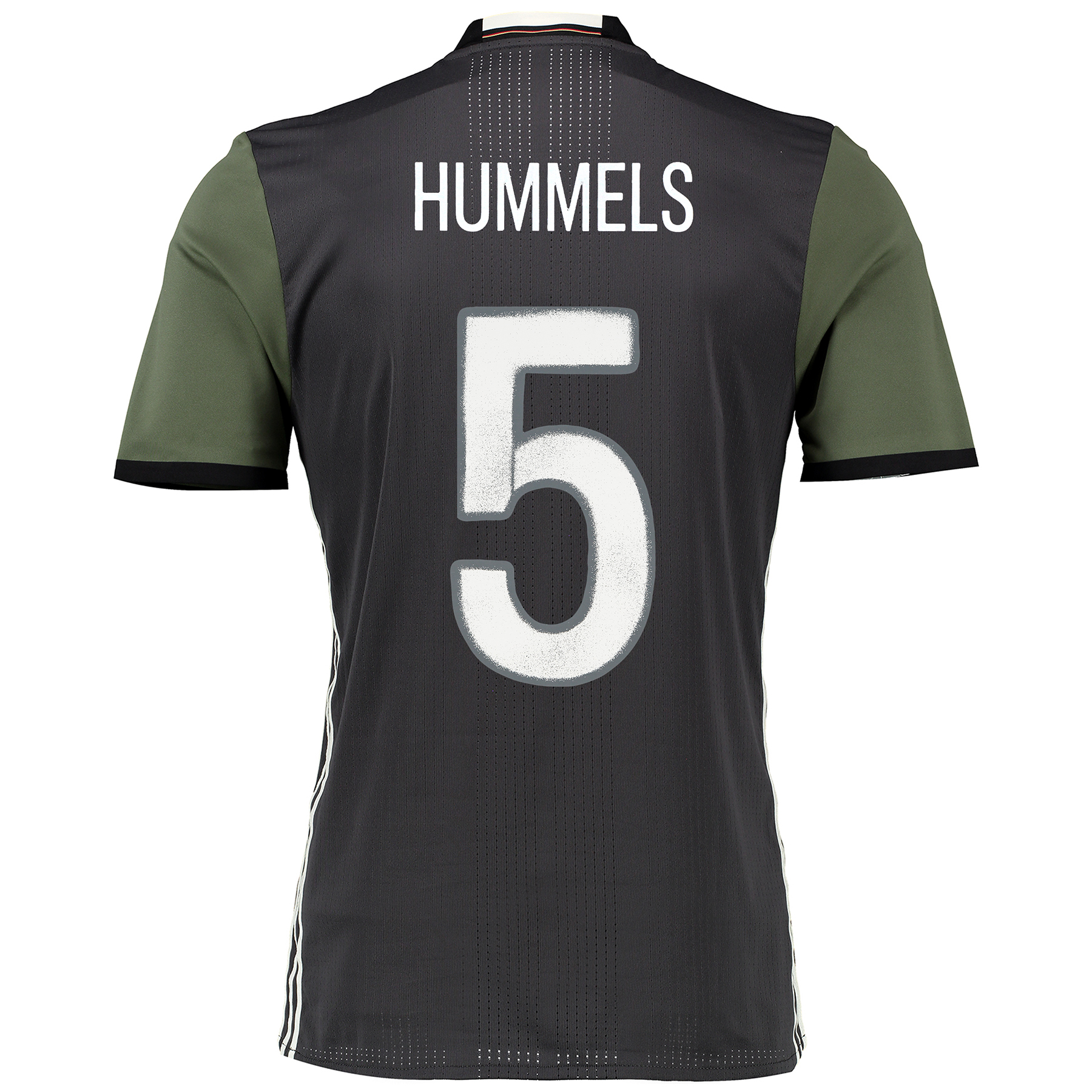 Image of Germany Away Authentic Shirt 2016 Dk Grey with Hummels 5 printing, Grey