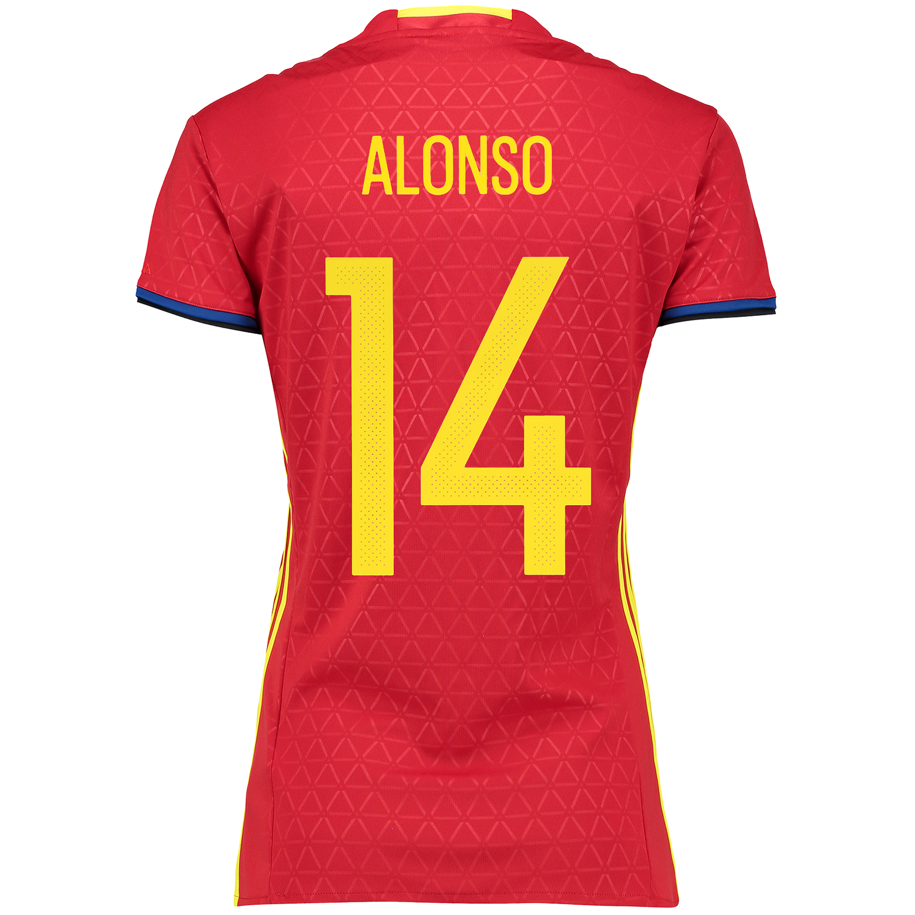 Spain Home Shirt 2016 - Womens Red with Alonso 14 printing
