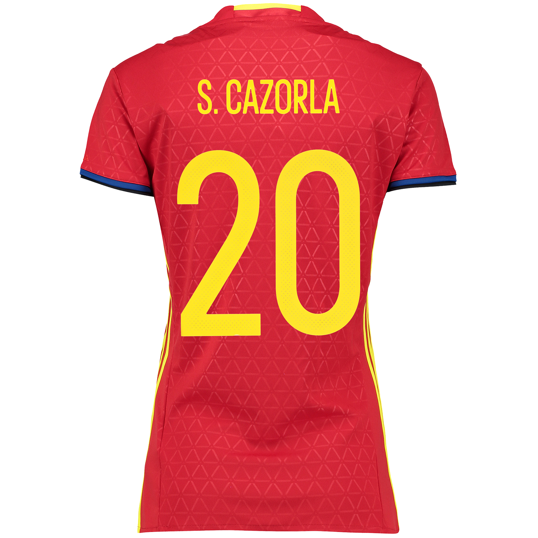 Spain Home Shirt 2016 - Womens Red with S. Cazorla 20 printing