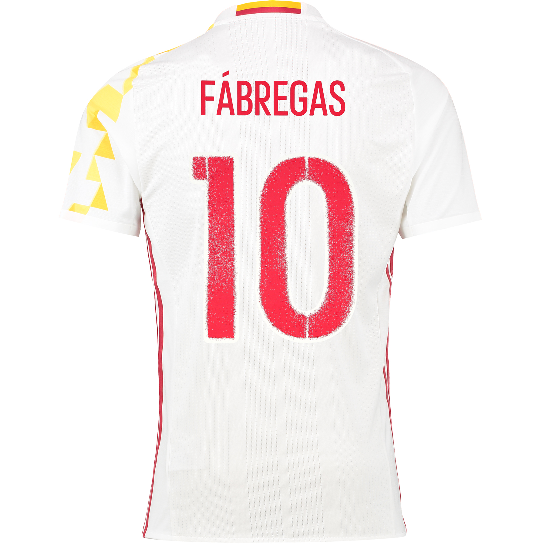 Spain Away Authentic Shirt 2016 White with Fabregas 10 printing