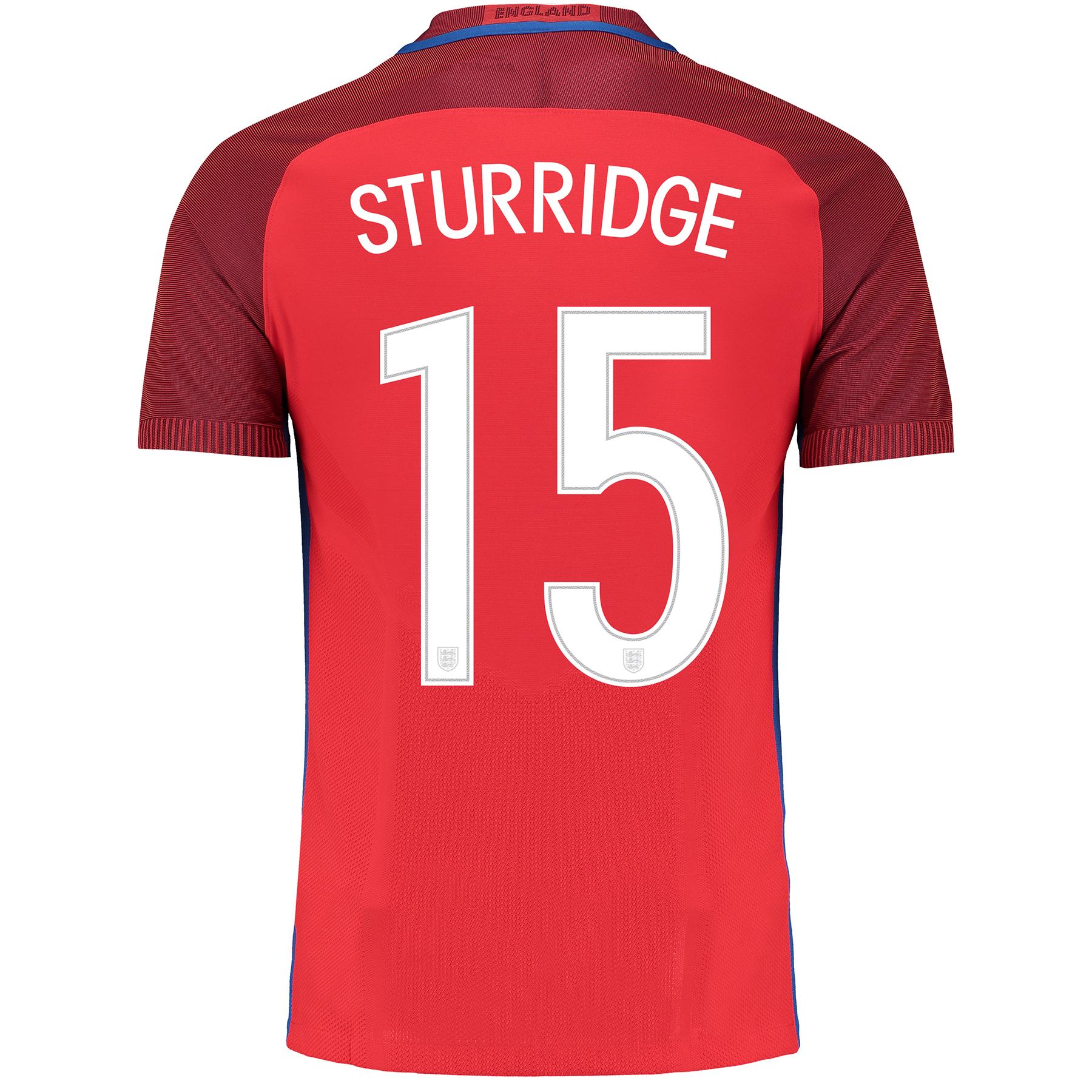 Image of England Away Match Shirt 2016 with Sturridge 15 printing, Red