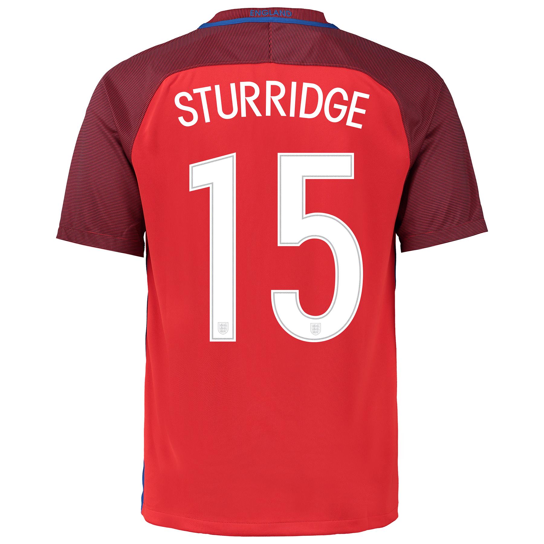 Image of England Away Shirt 2016 with Sturridge 15 printing, Red