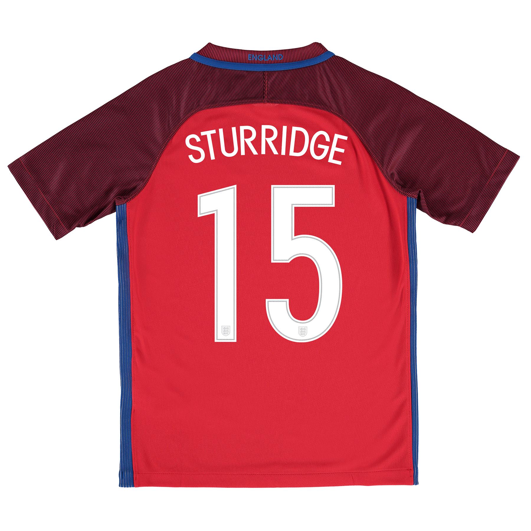 Image of England Away Shirt 2016 - Kids with Sturridge 15 printing, Red