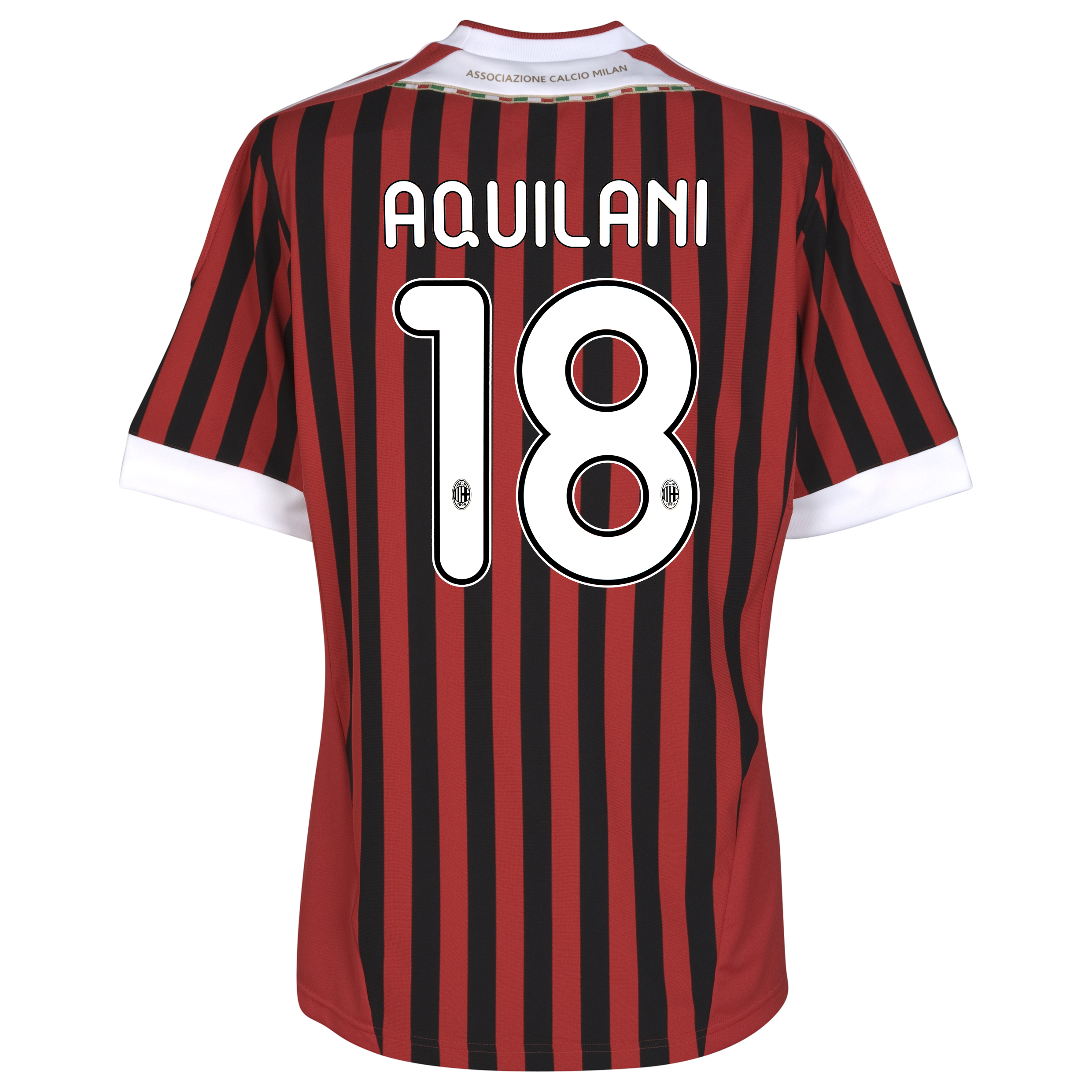AC Milan Home Shirt 2011/12 with Aquilani 18 printing
