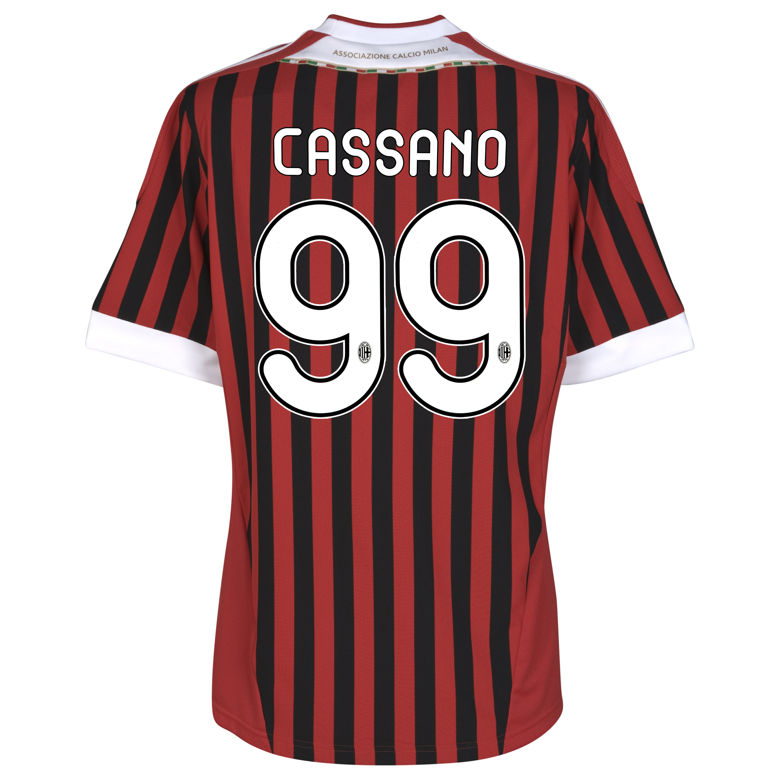 AC Milan Home Shirt 2011/12 with Cassano 99 printing