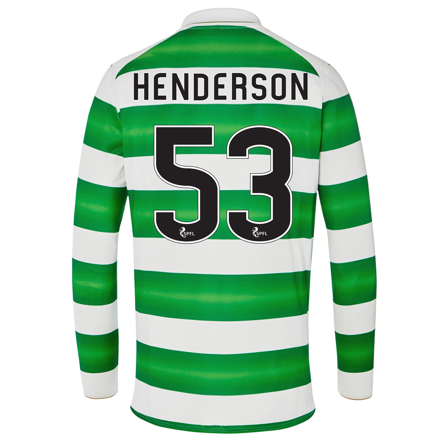 Celtic Home Kids Shirt 2016-17 - Long Sleeve with Henderson 53 printin