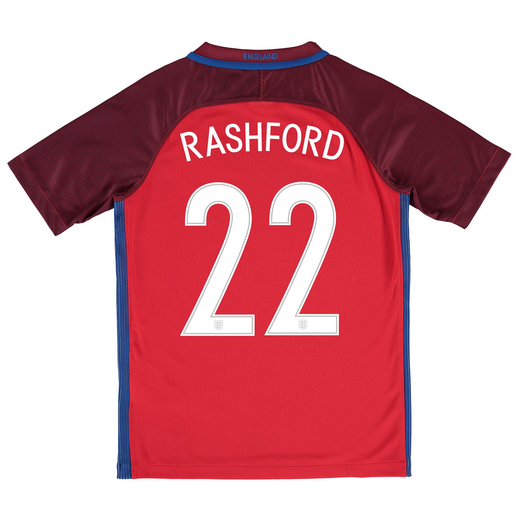 England Away Shirt 2016 - Kids with Rashford 22 printing