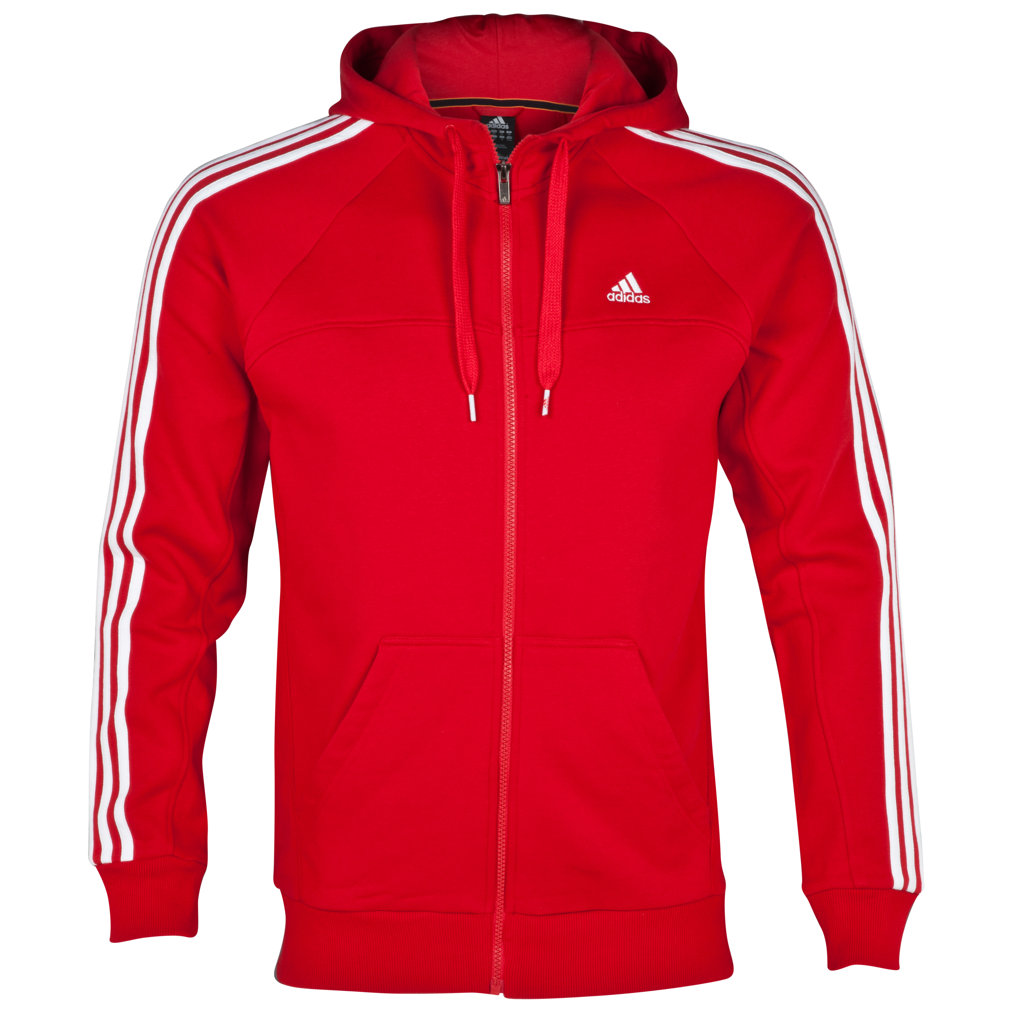 Adidas Essentials 3 Stripe Full Zip Hoodie - Light Scarlet