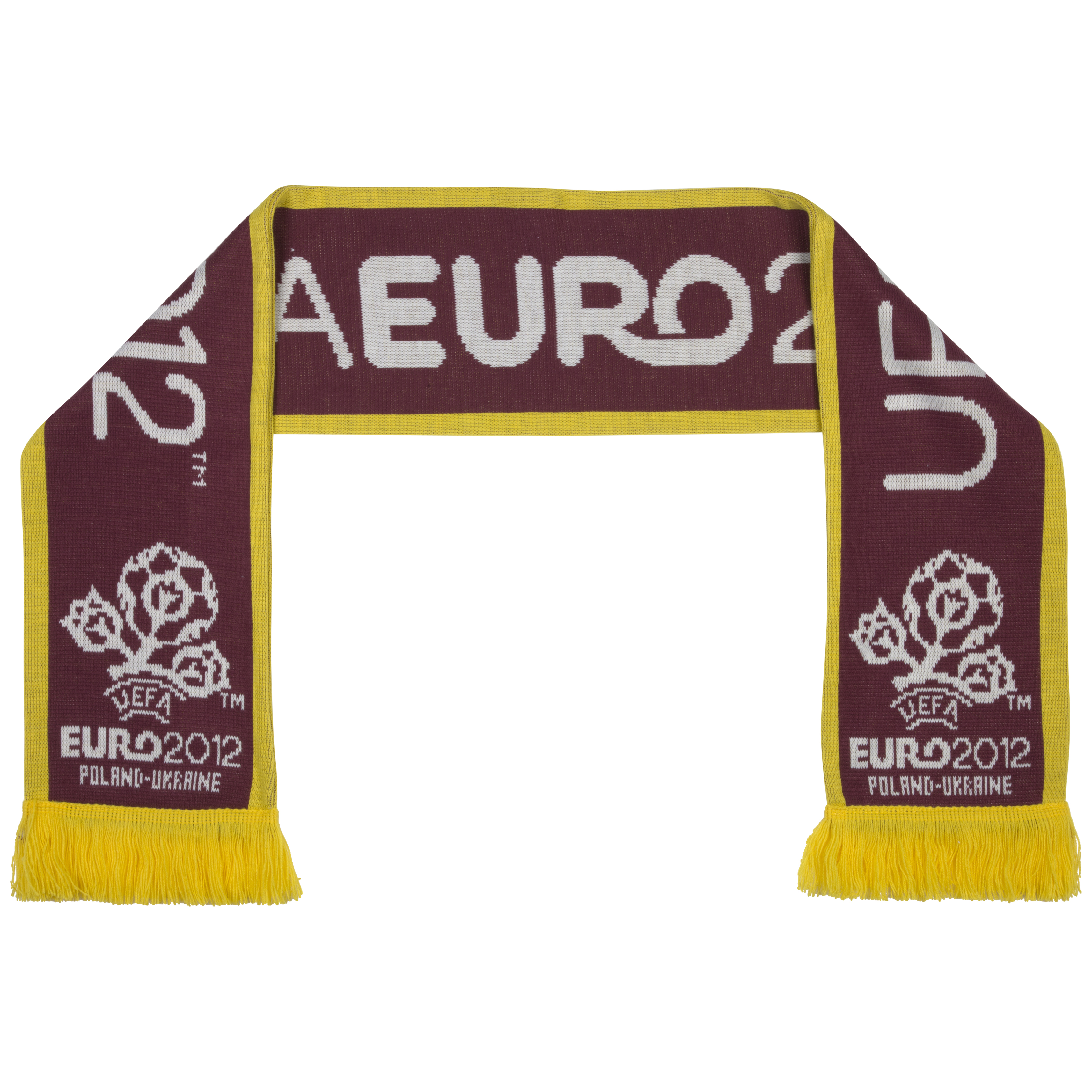 Euro 2012 Basic Logo Jacquard Scarf - Burgundy/Yellow