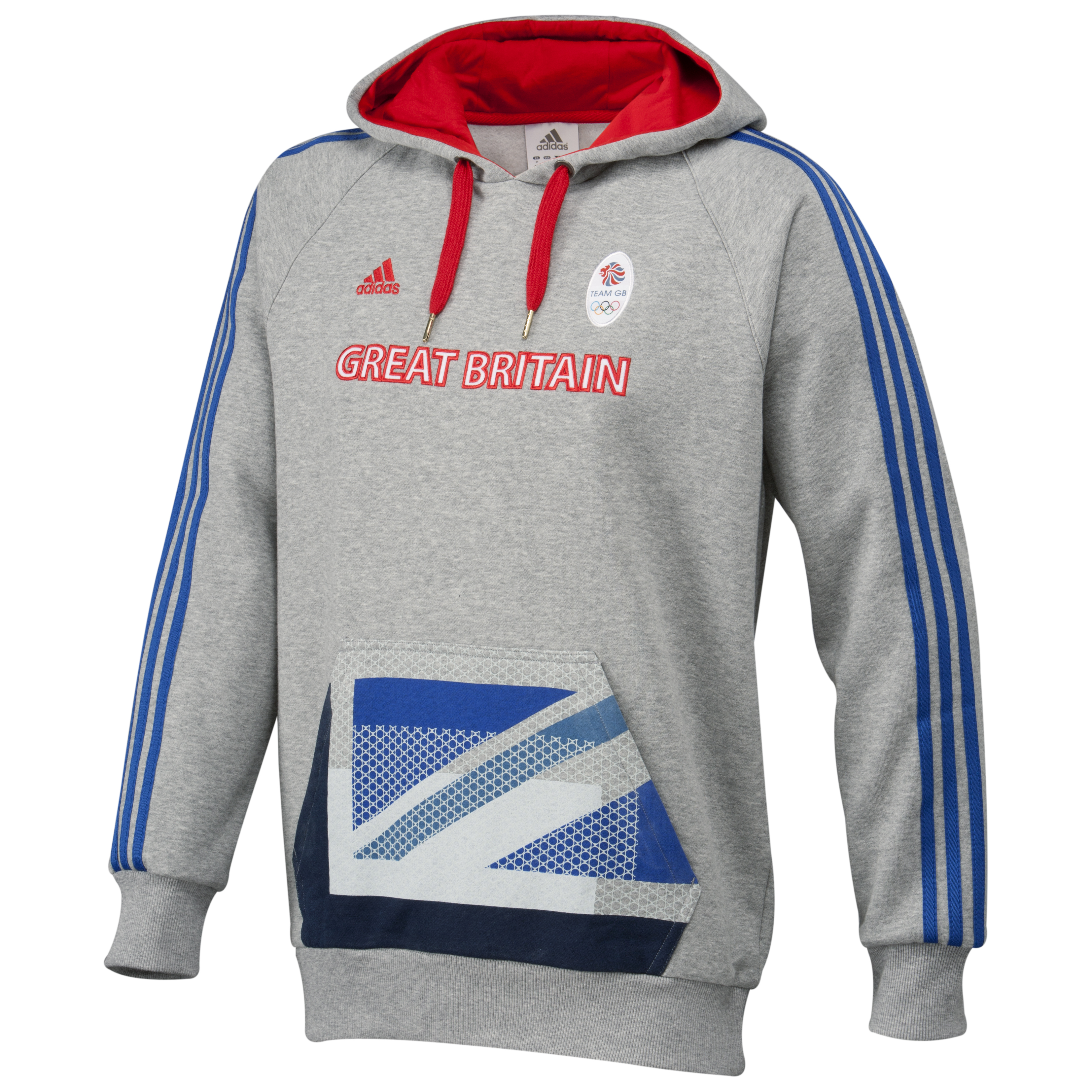 adidas Team GB Hoodie - Medium Grey Heather/Victory Blue S07