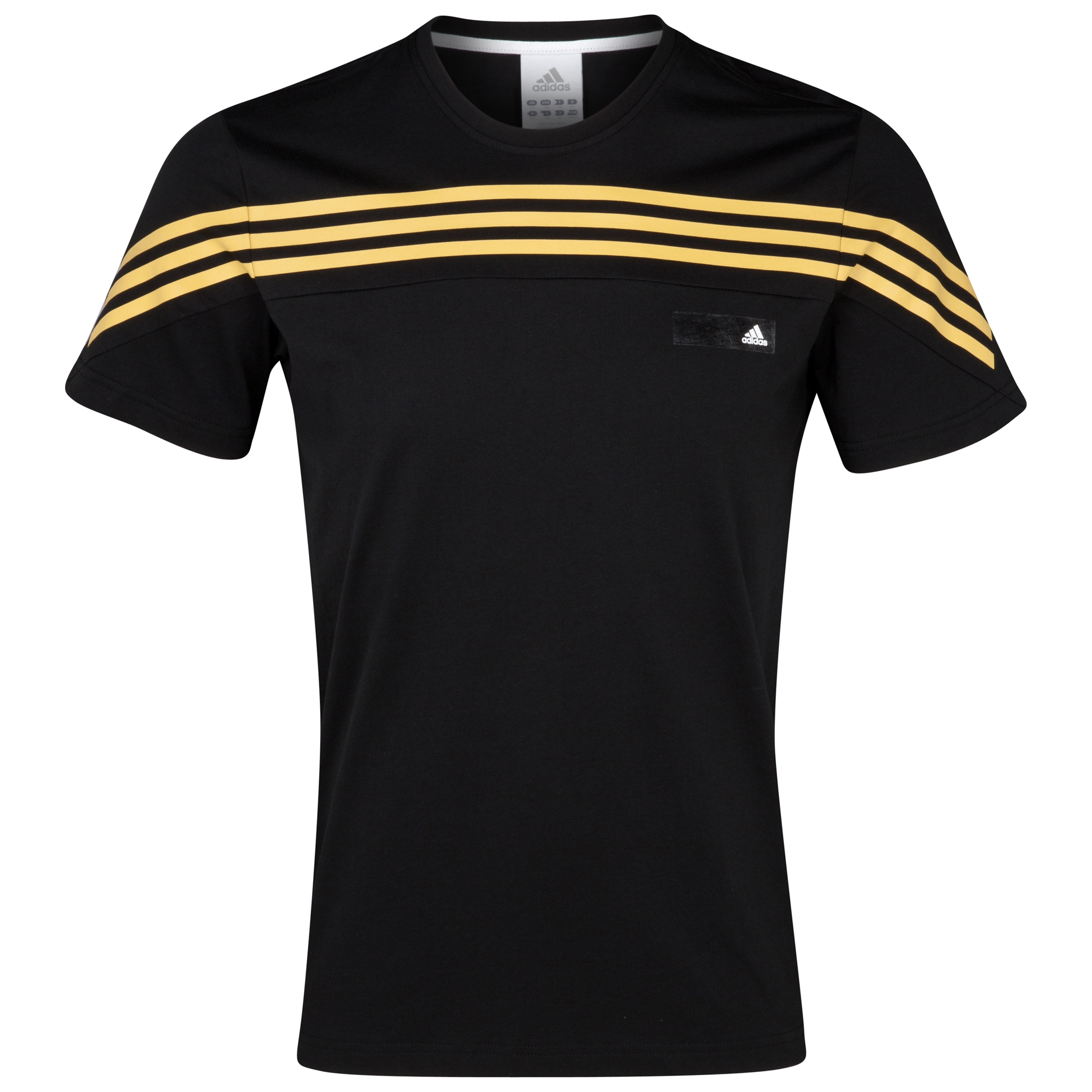 adidas 3 Stripe Short Sleeve T-Shirt - Black/Light Old Gold