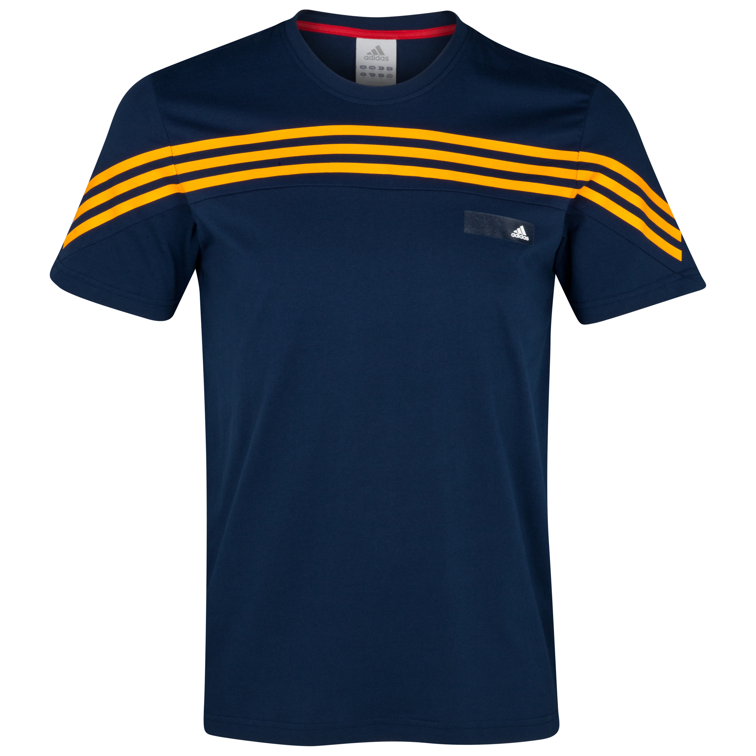 adidas 3 Stripe Short Sleeve T-Shirt - Dark Indigo/Collegiate Gold