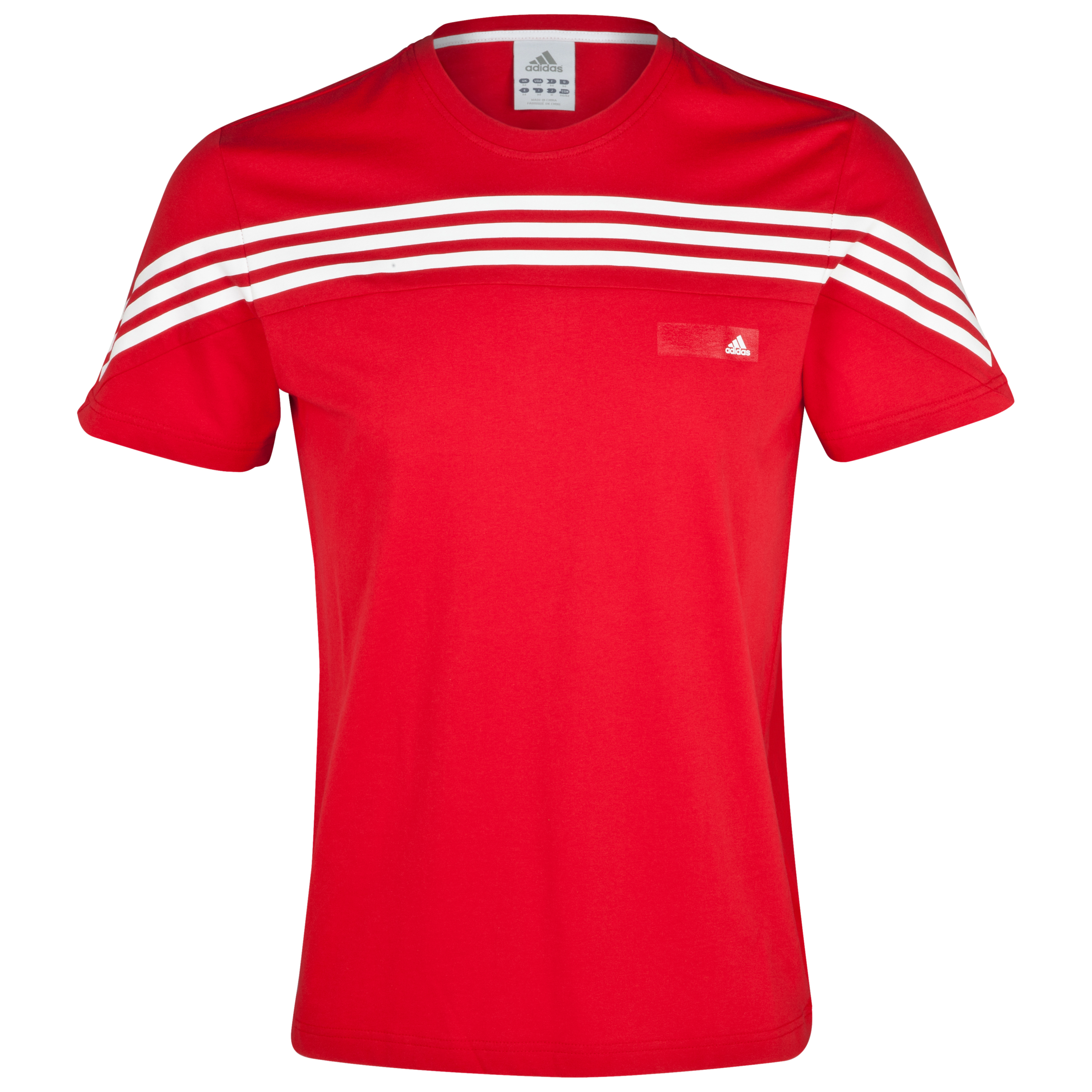 adidas 3 Stripe Short Sleeve T-Shirt - Red S09/White