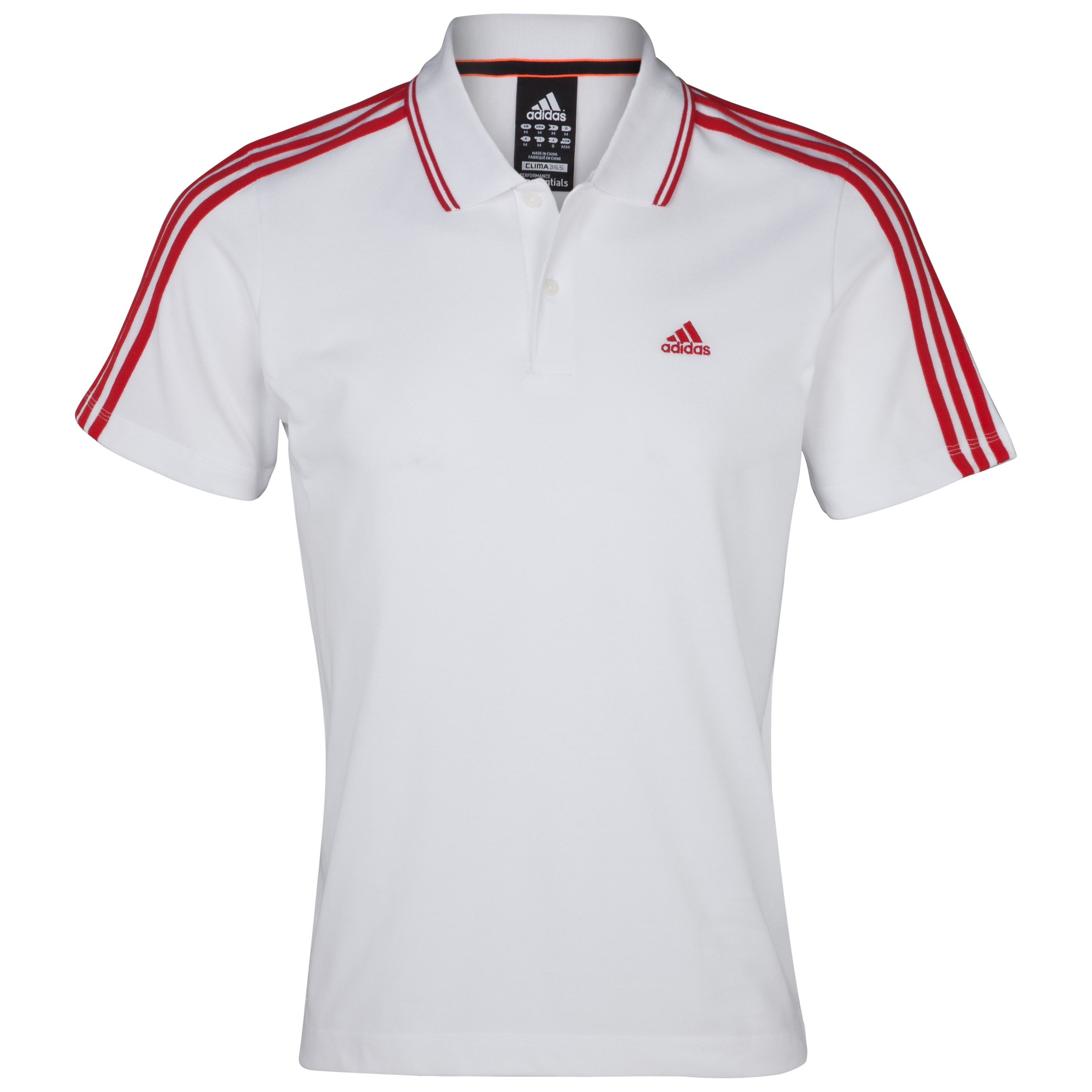 Adidas Essentials 3 Stripe Polo - White/Red S09