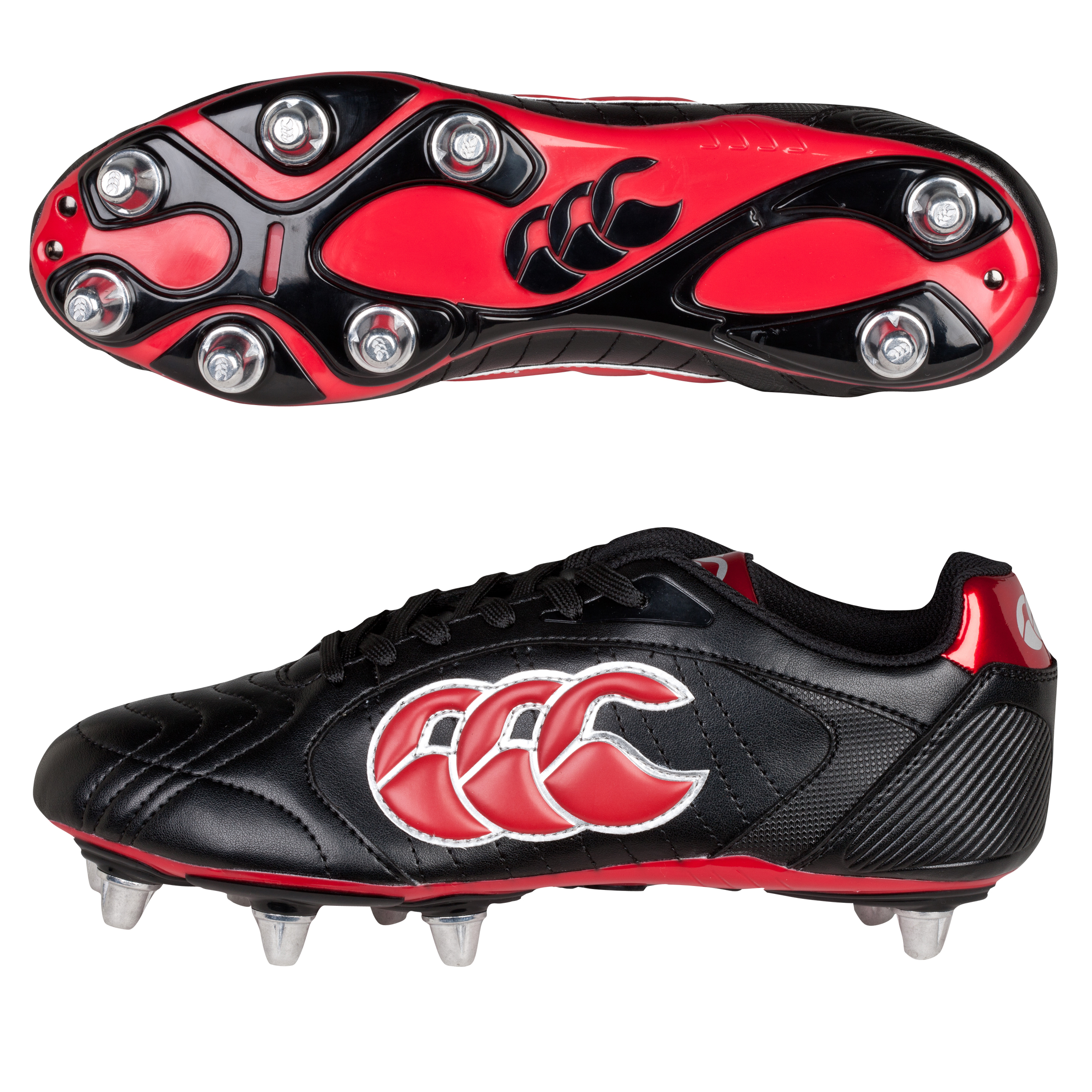 Canterbury Phoenix Lli Club 8 Stud Rugby Boot - Black/Red/Silver