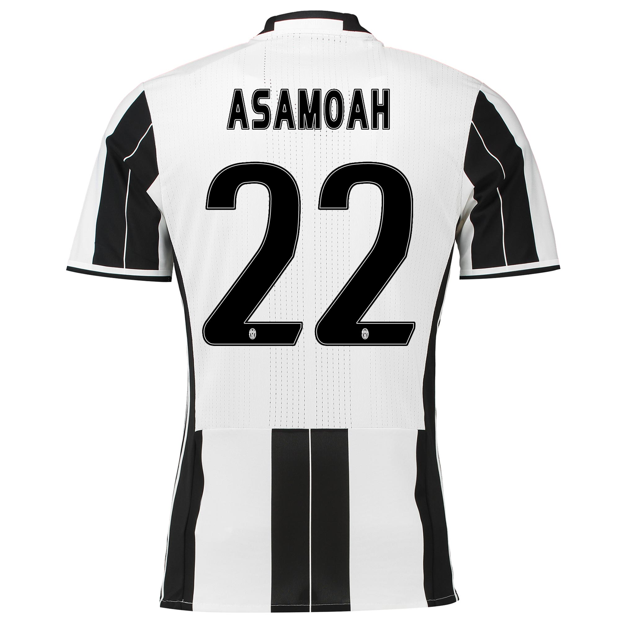 Image of Juventus Home Adi Zero Shirt 2016-17 with Asamoah 22 printing, Black/White