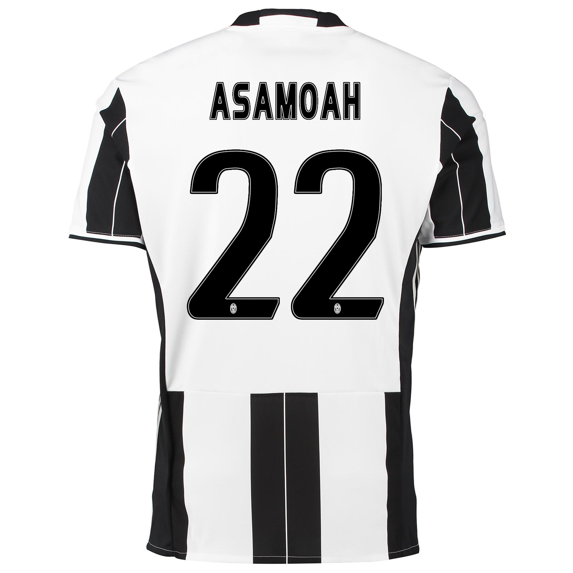 Image of Juventus Home Shirt 2016-17 with Asamoah 22 printing, Black/White