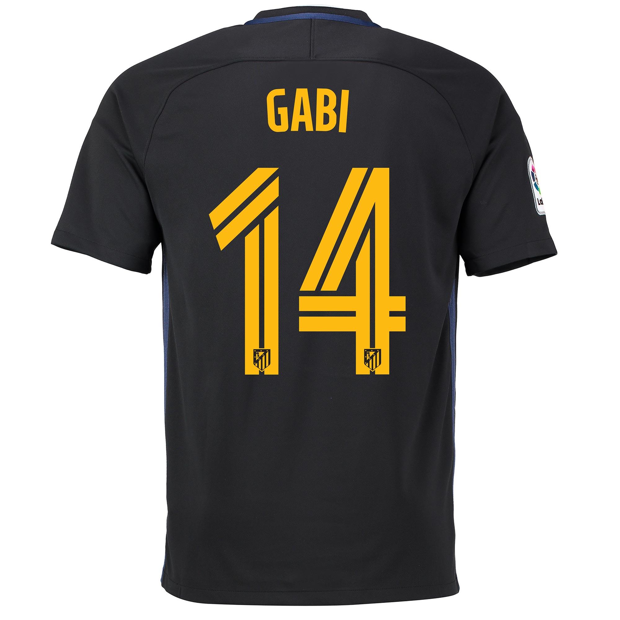 Image of Atletico Madrid Away Shirt 2016-17 with Gabi 14 printing, Black