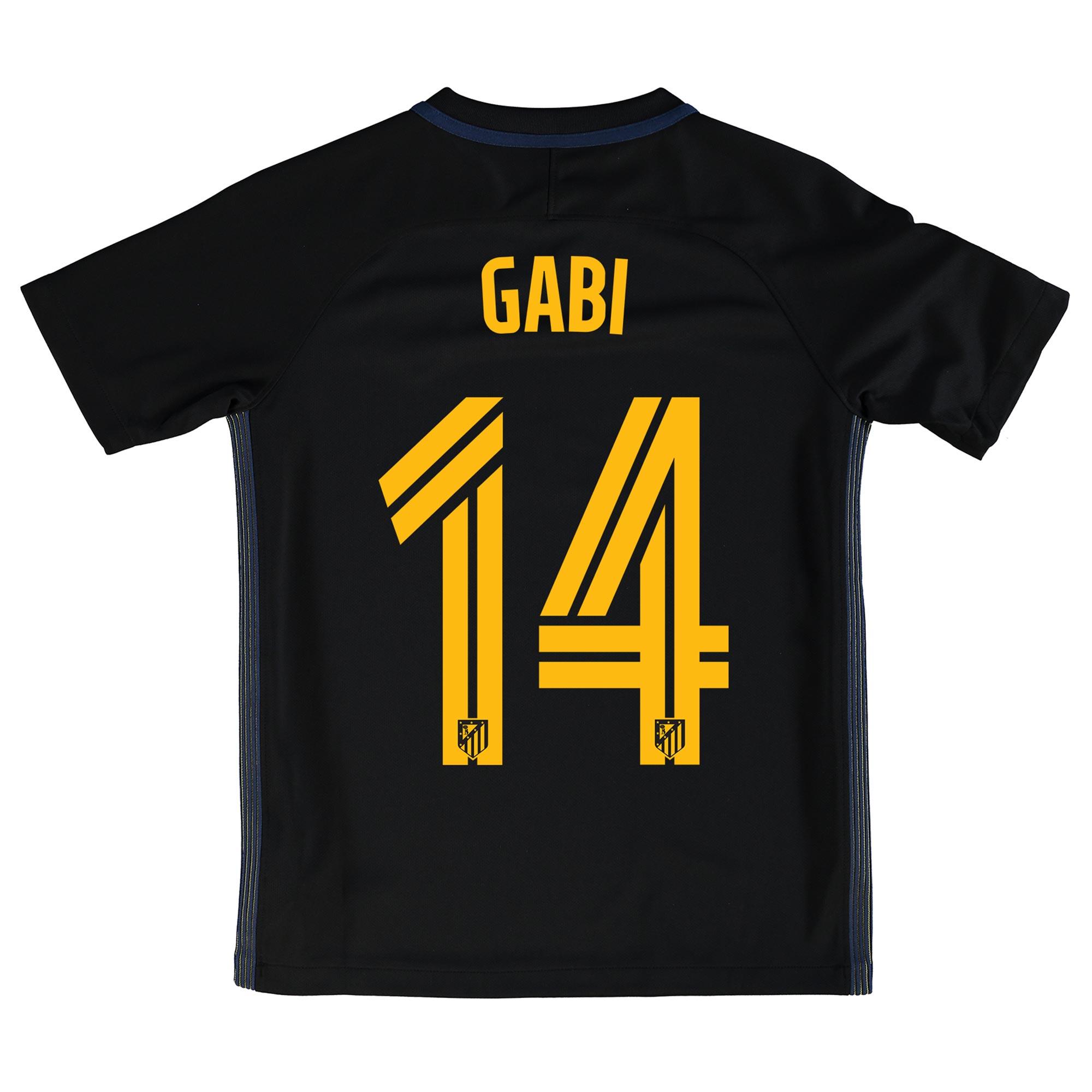 Image of Atletico Madrid Away Shirt 2016-17 - Kids with Gabi 14 printing, Black