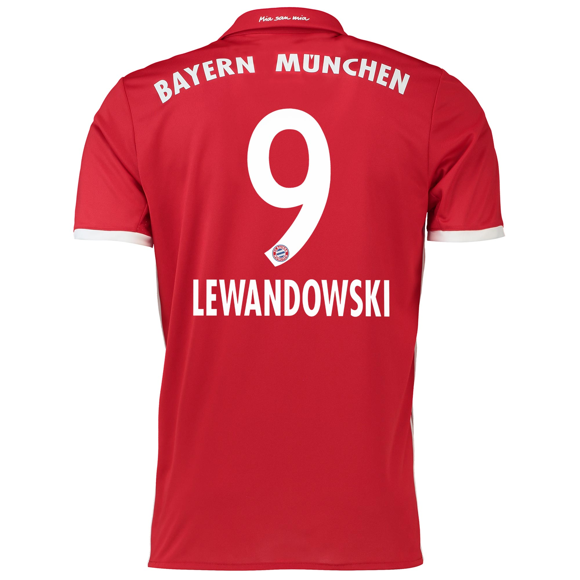 Image of Bayern Munich Home Shirt 2016-17 with Lewandowski 9 printing, Red