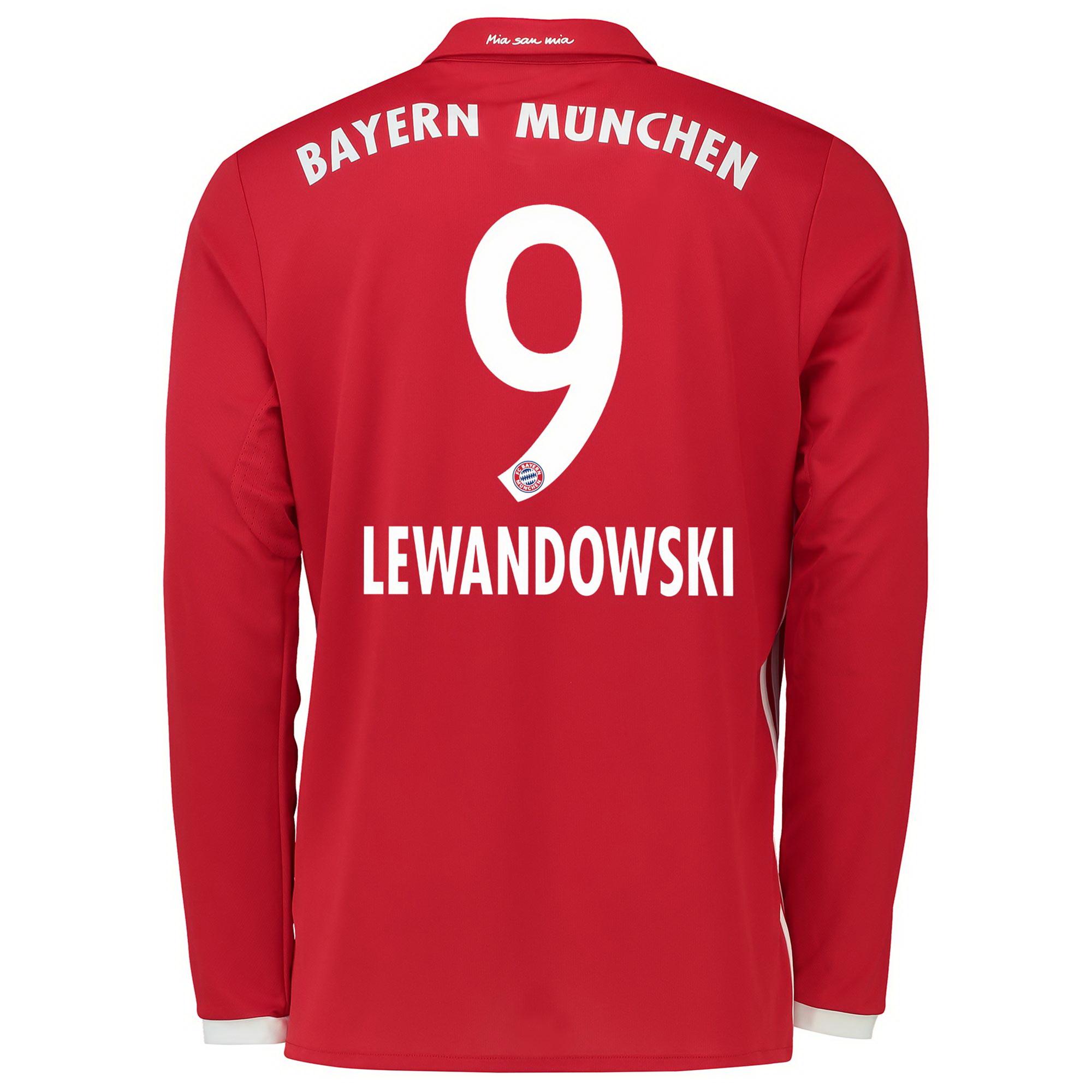 Image of Bayern Munich Home Shirt 2016-17 - Kids - Long Sleeve with Lewandowski, Red