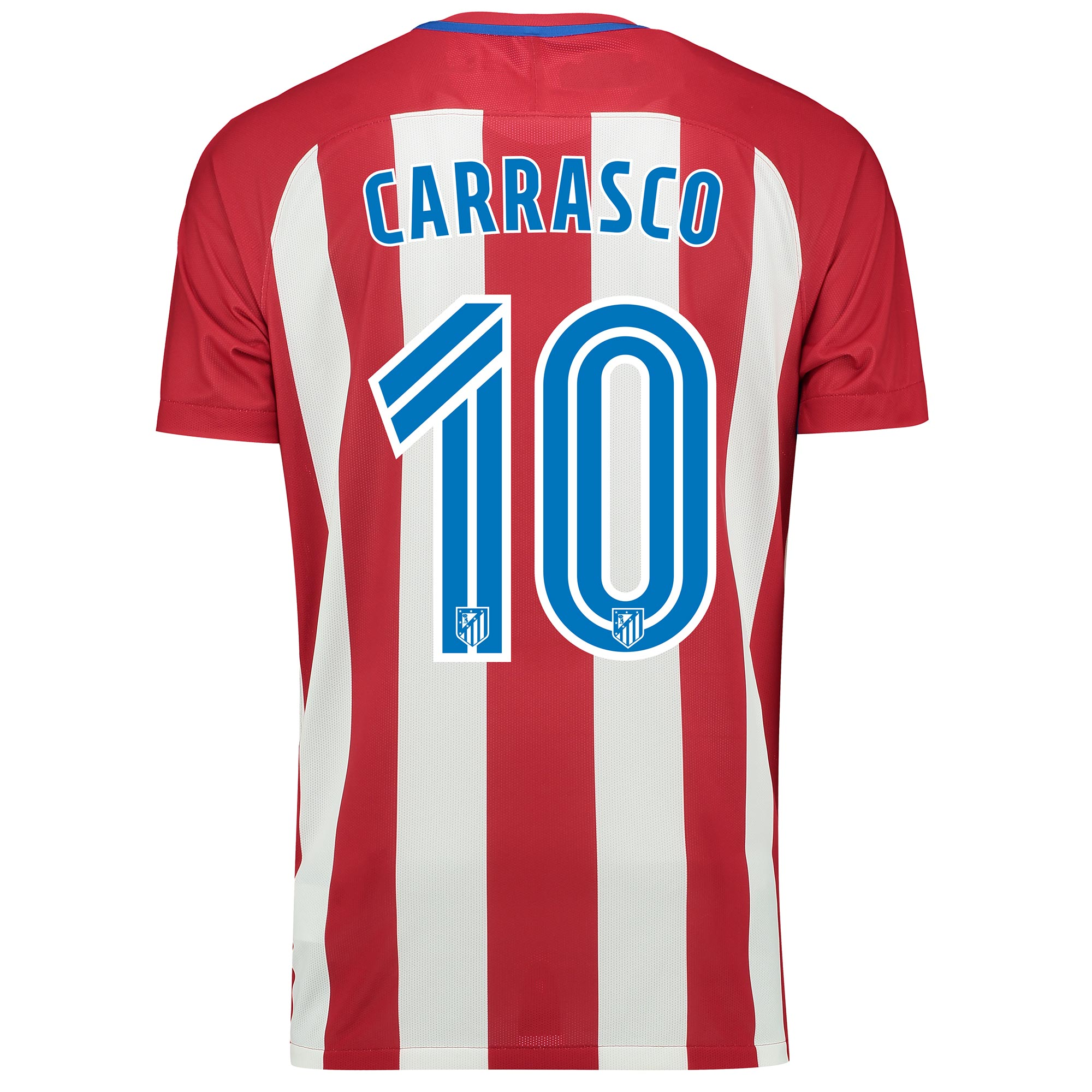 Image of Atletico Madrid Home Match Shirt 2016-17 with Carrasco 10 printing, Red/White