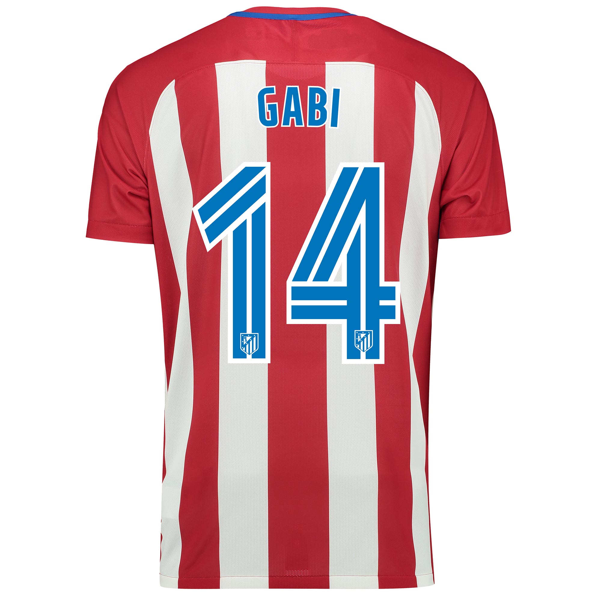 Image of Atletico Madrid Home Match Shirt 2016-17 with Gabi 14 printing, Red/White