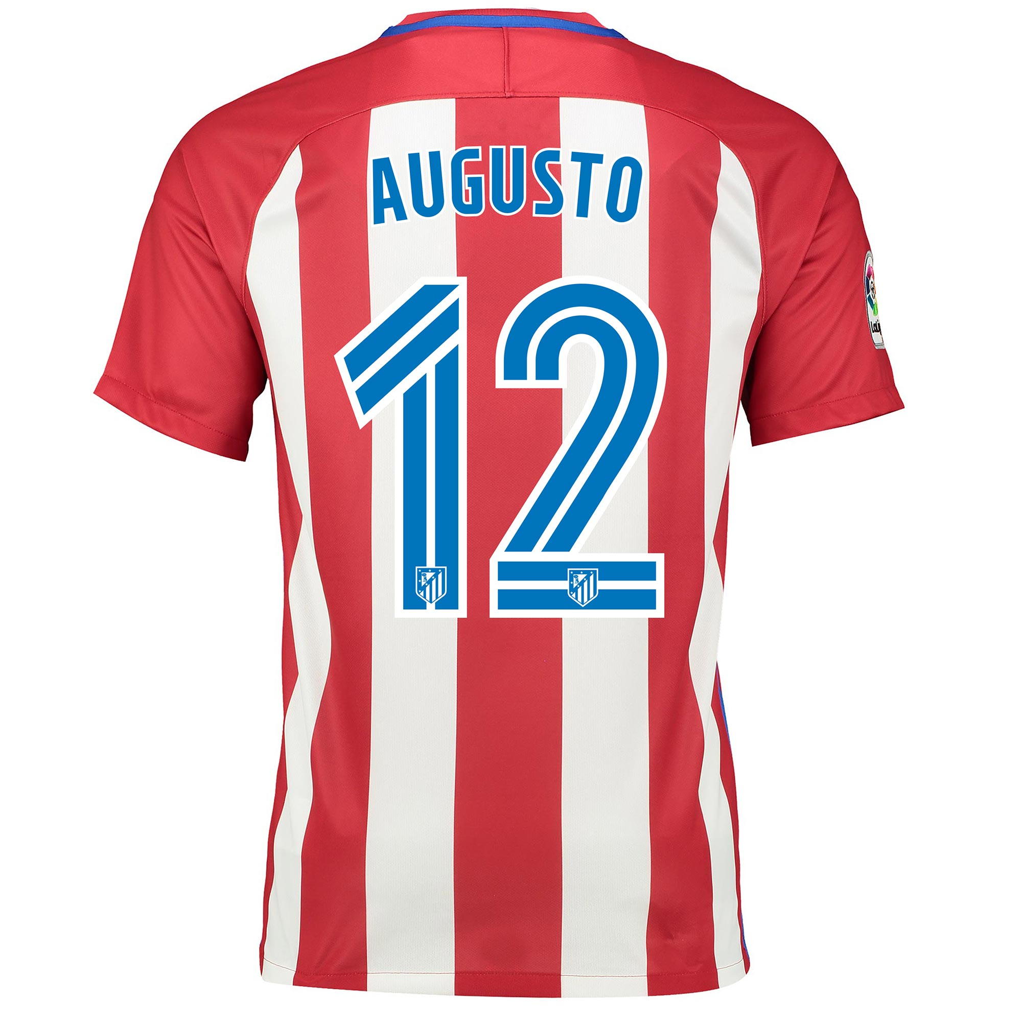 Image of Atletico Madrid Home Shirt 2016-17 with Belt 11 printing, Red/White
