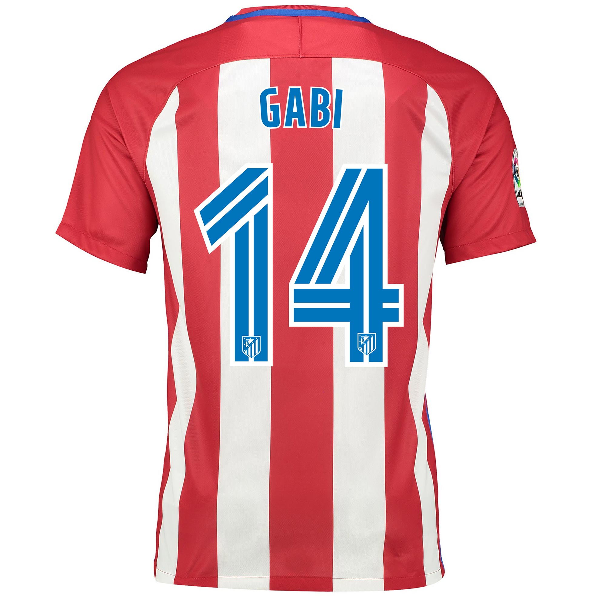 Image of Atletico Madrid Home Shirt 2016-17 with Gabi 14 printing, Red/White