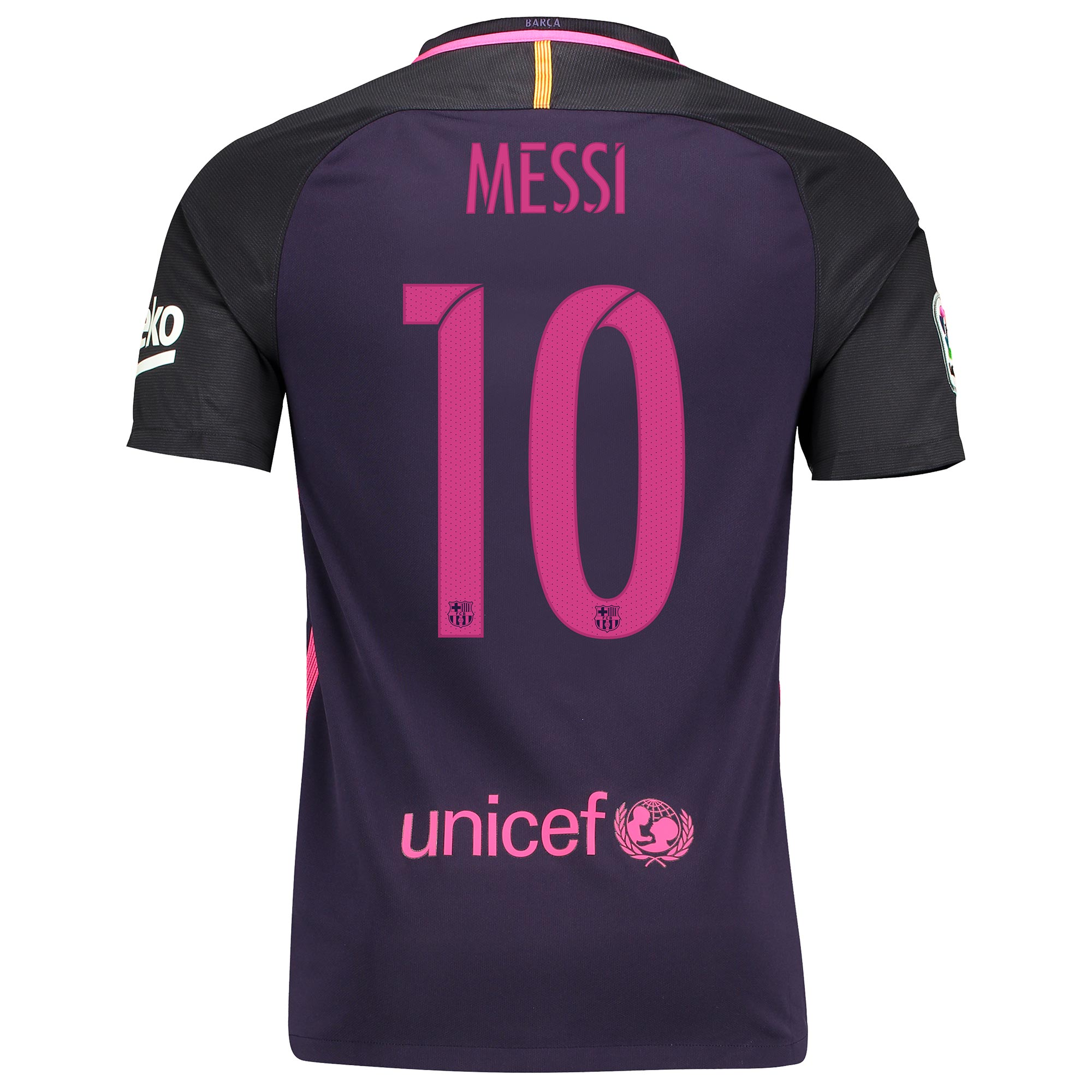 Barcelona Away Shirt 2016-17 - Kids - Sponsored with Messi 10 printing, Purple