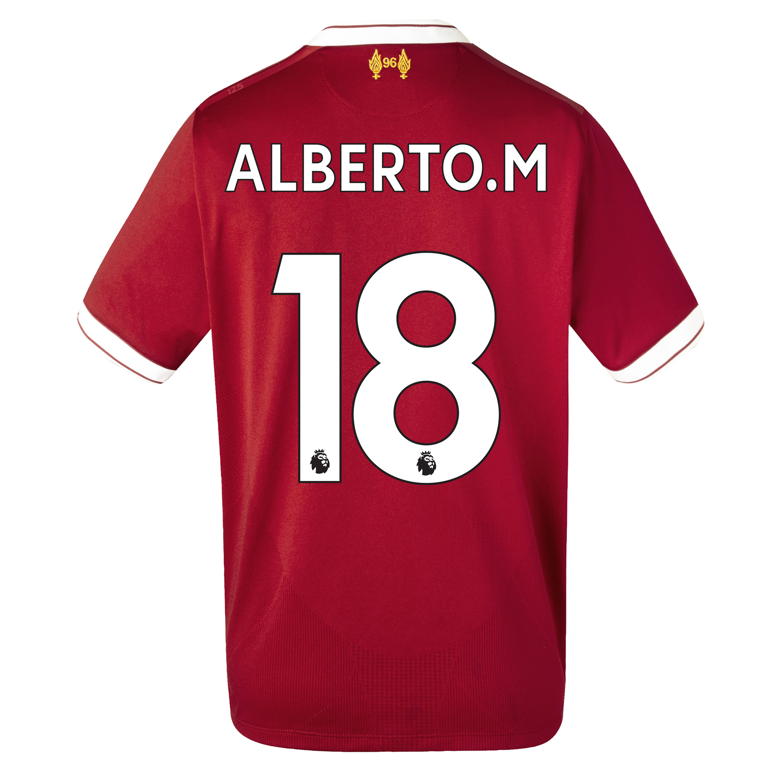 Liverpool Home Shirt 2017-18 - Kids with Alberto.M 18 printing, Red