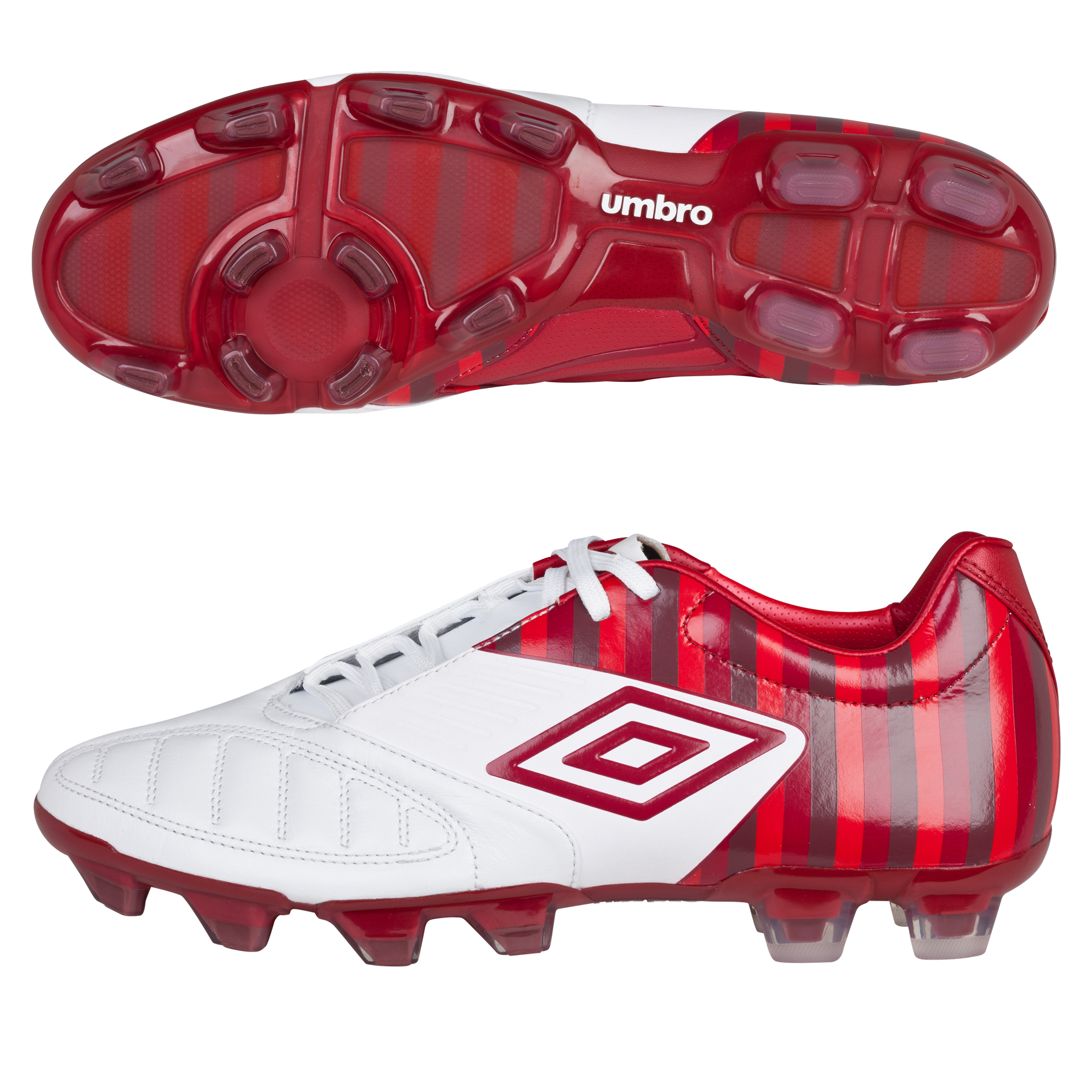 Umbro Geometra Pro 2012 Firm Ground Football Boots - White / Vermillion / Dark Vermillion / Deep Claret