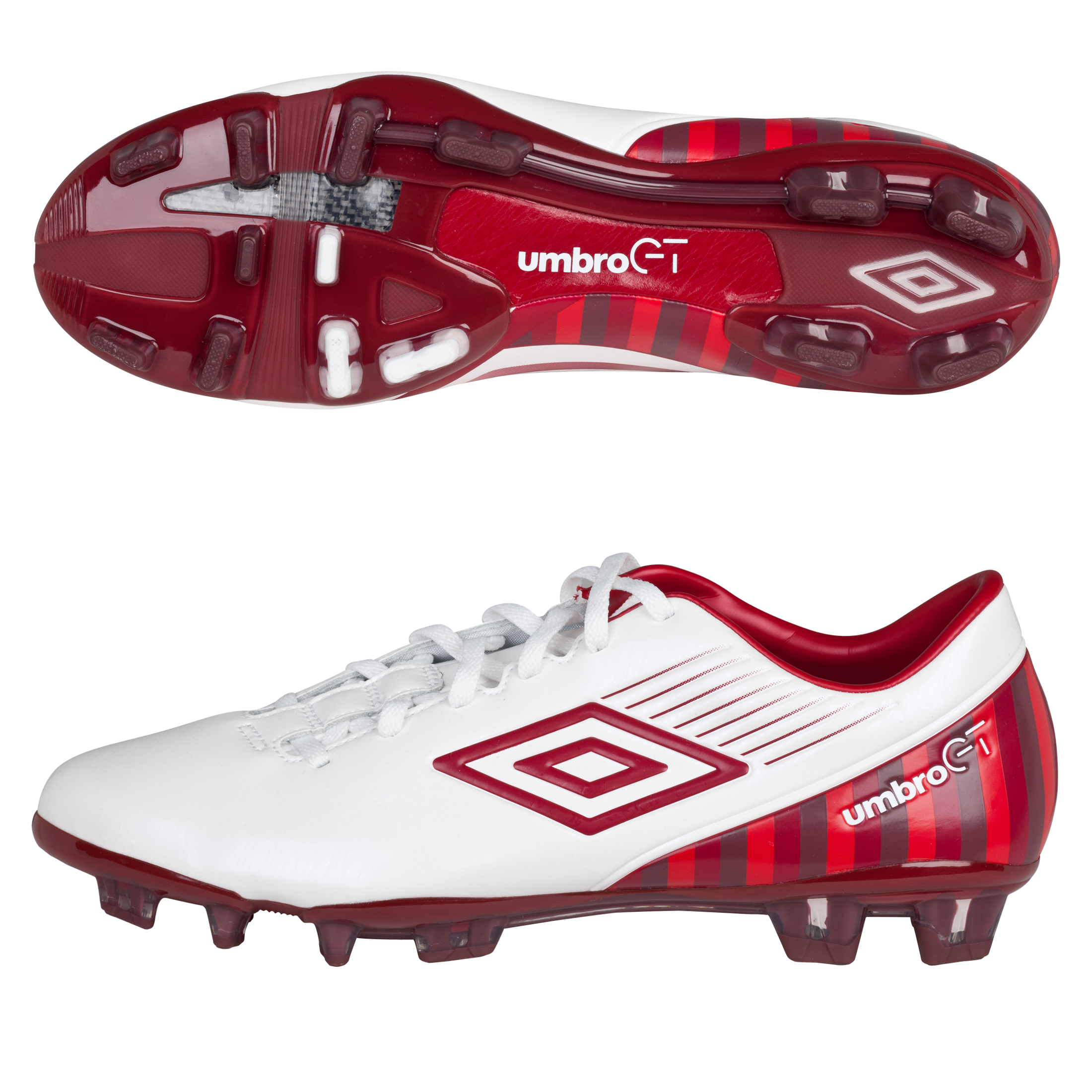 Umbro Gt 2 Pro 2012 Firm Ground Football Boots - White / Vermillion / Dark Vermillion / Deep Claret
