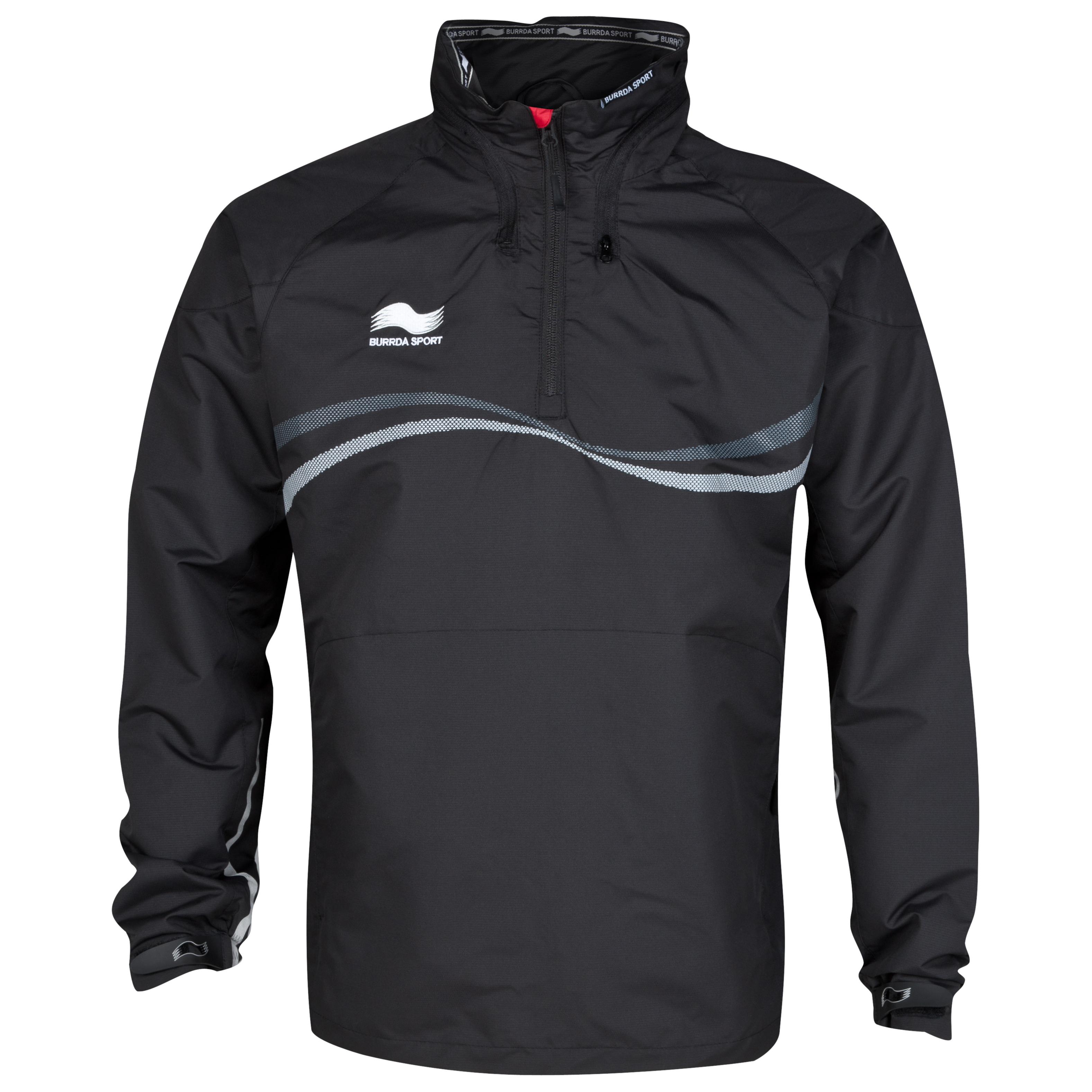 Burrda Sport Rugby 1/4 Zip Rain Jacket - Black