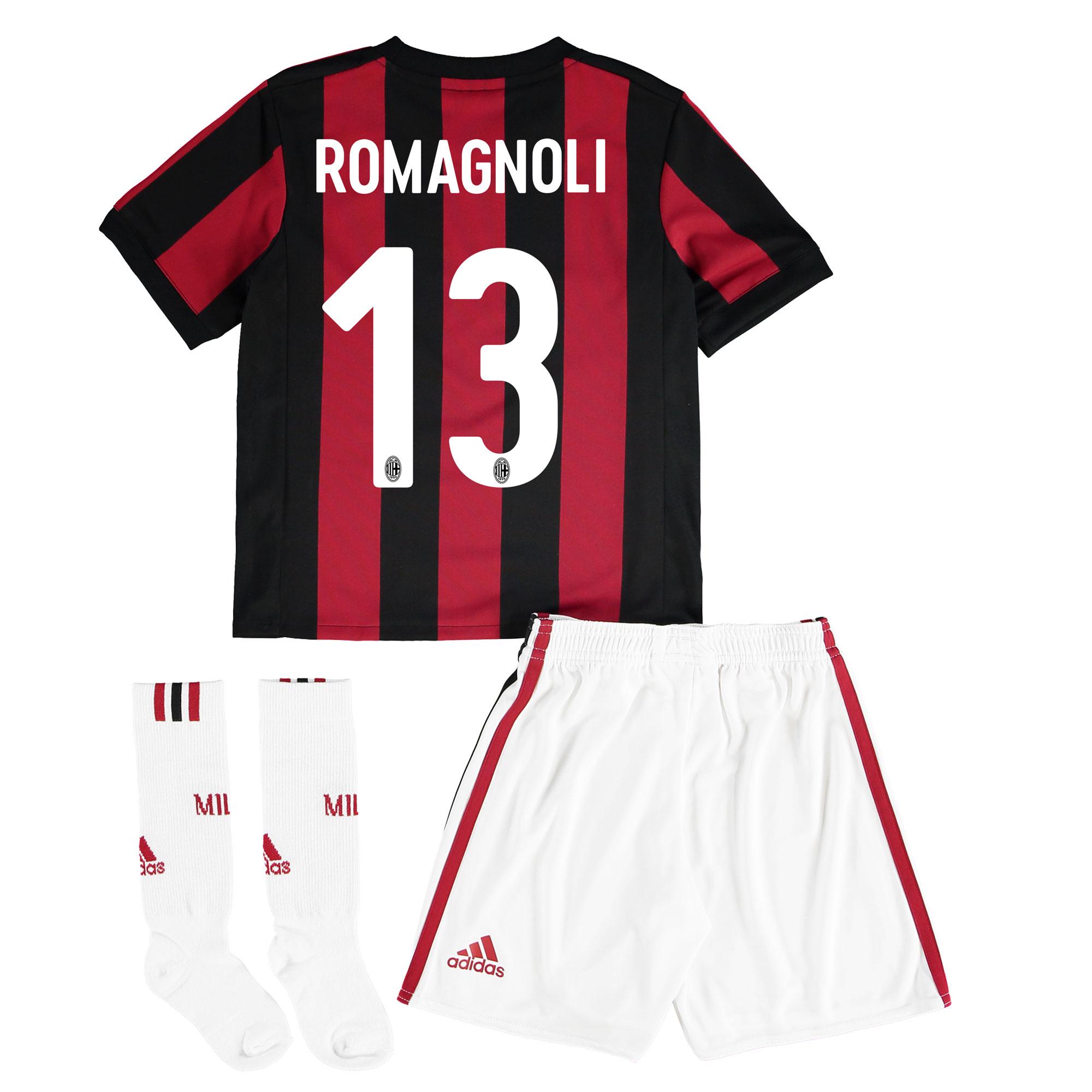 AC Milan Home Mini Kit 2017-18 with Romagnoli 13 printing