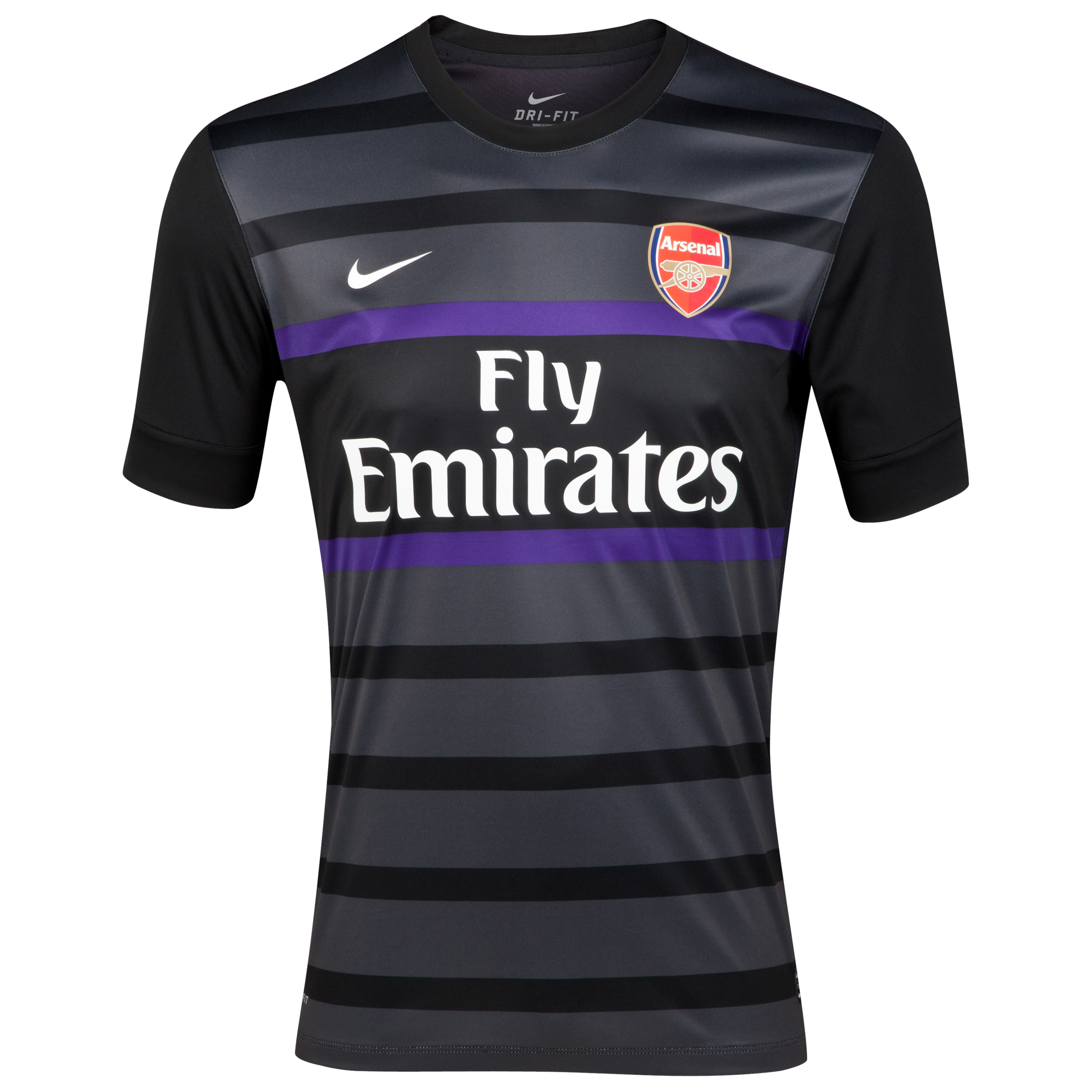 Arsenal Short Sleeve Pre Match Top 1  - Black/Anthracite/Court Purple/White