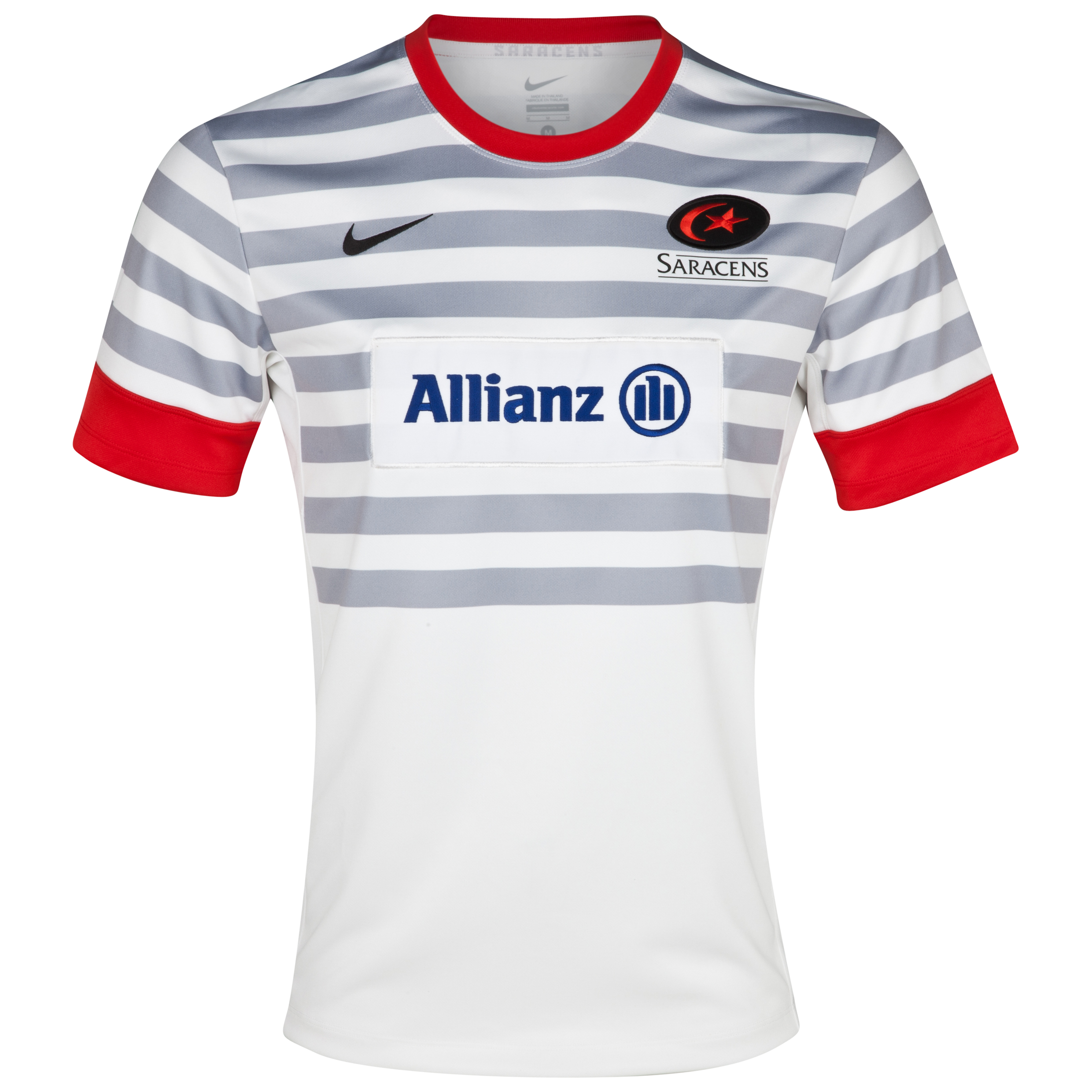 Saracens Away Replica Jersey 2012/13 - White/Wolf Grey/University Red/White