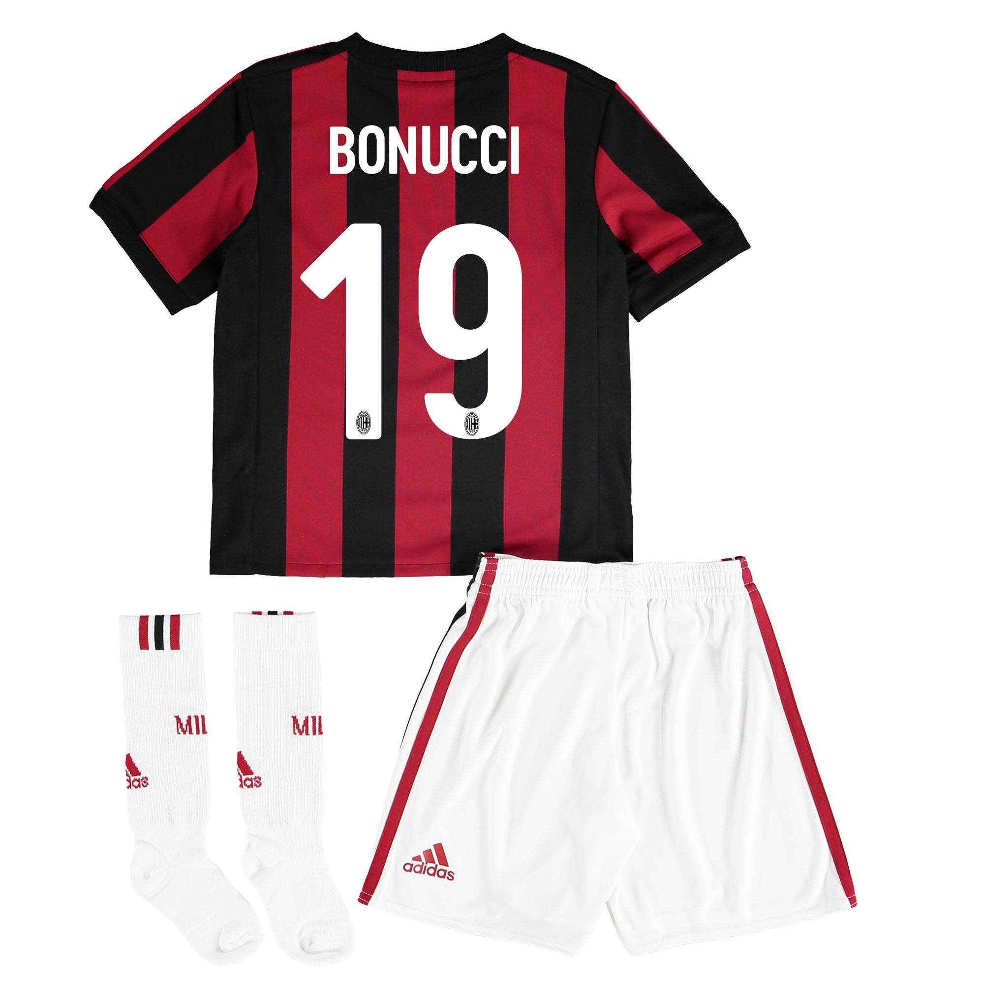 AC Milan Home Mini Kit 2017-18 with Bonucci 19 printing