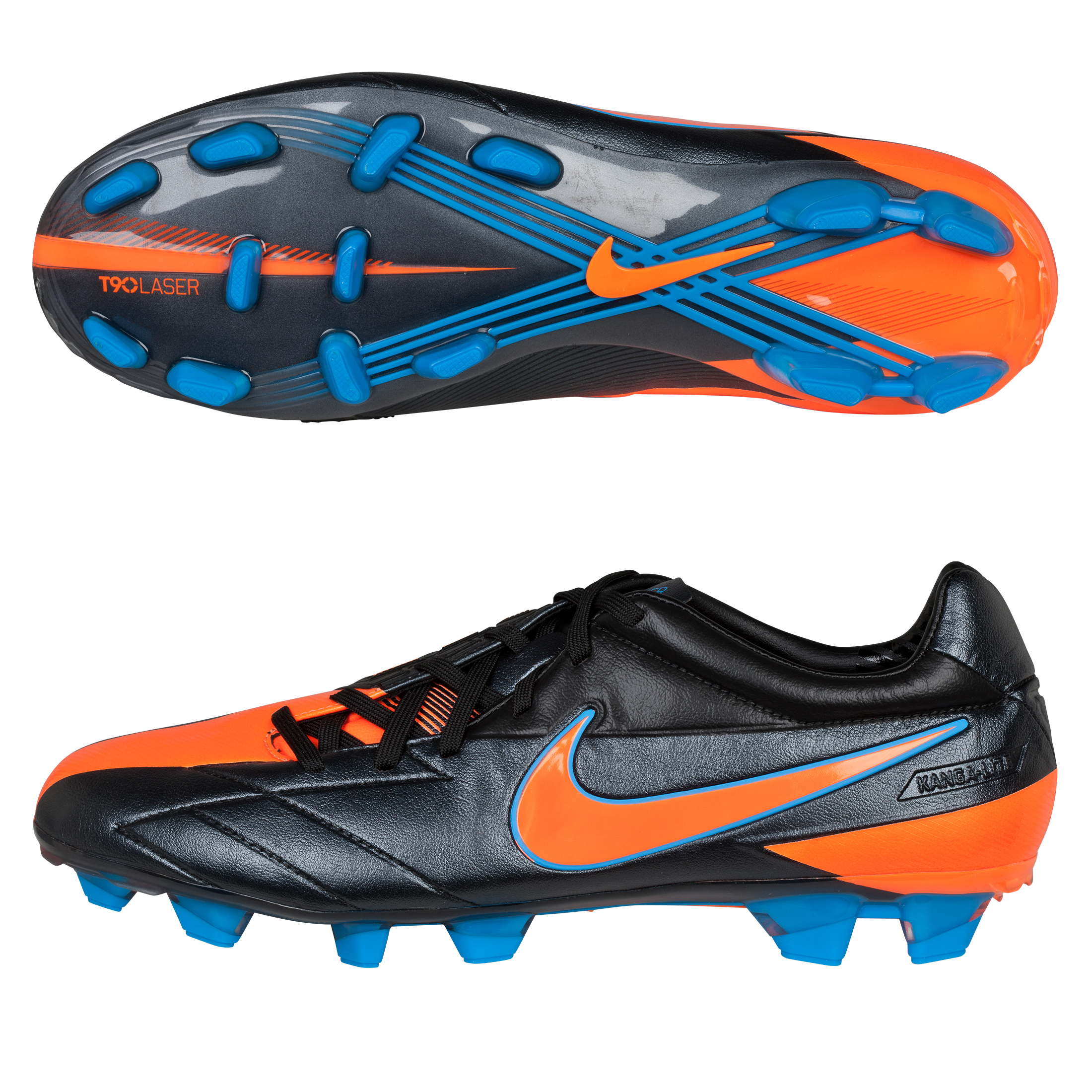 Nike Total90 Laser IV KL Firm Ground Football Boots - Black/Total Orange/Blue Glow