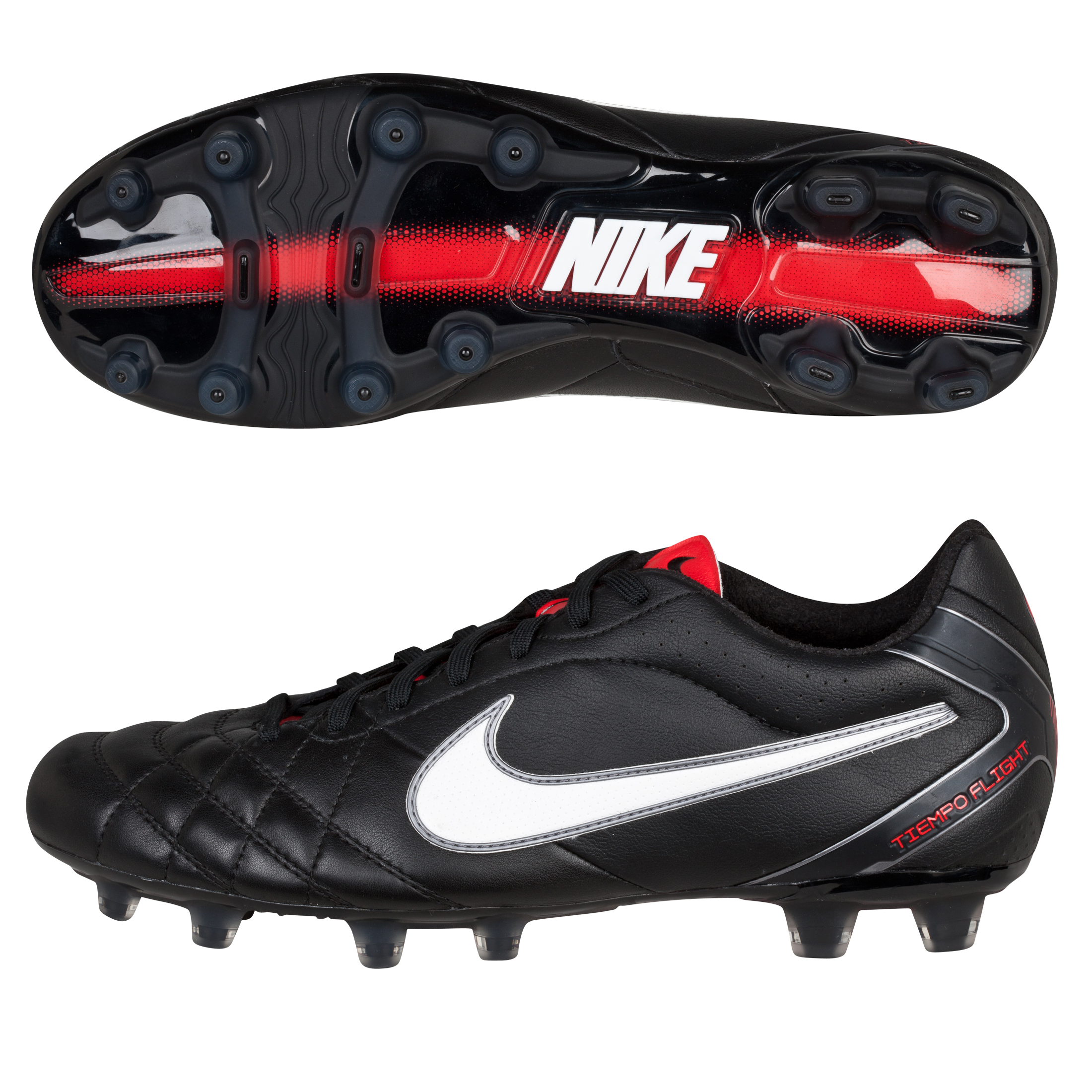 Nike Tiempo Flight Firm Ground Football Boots - Black/White/Challenge Red