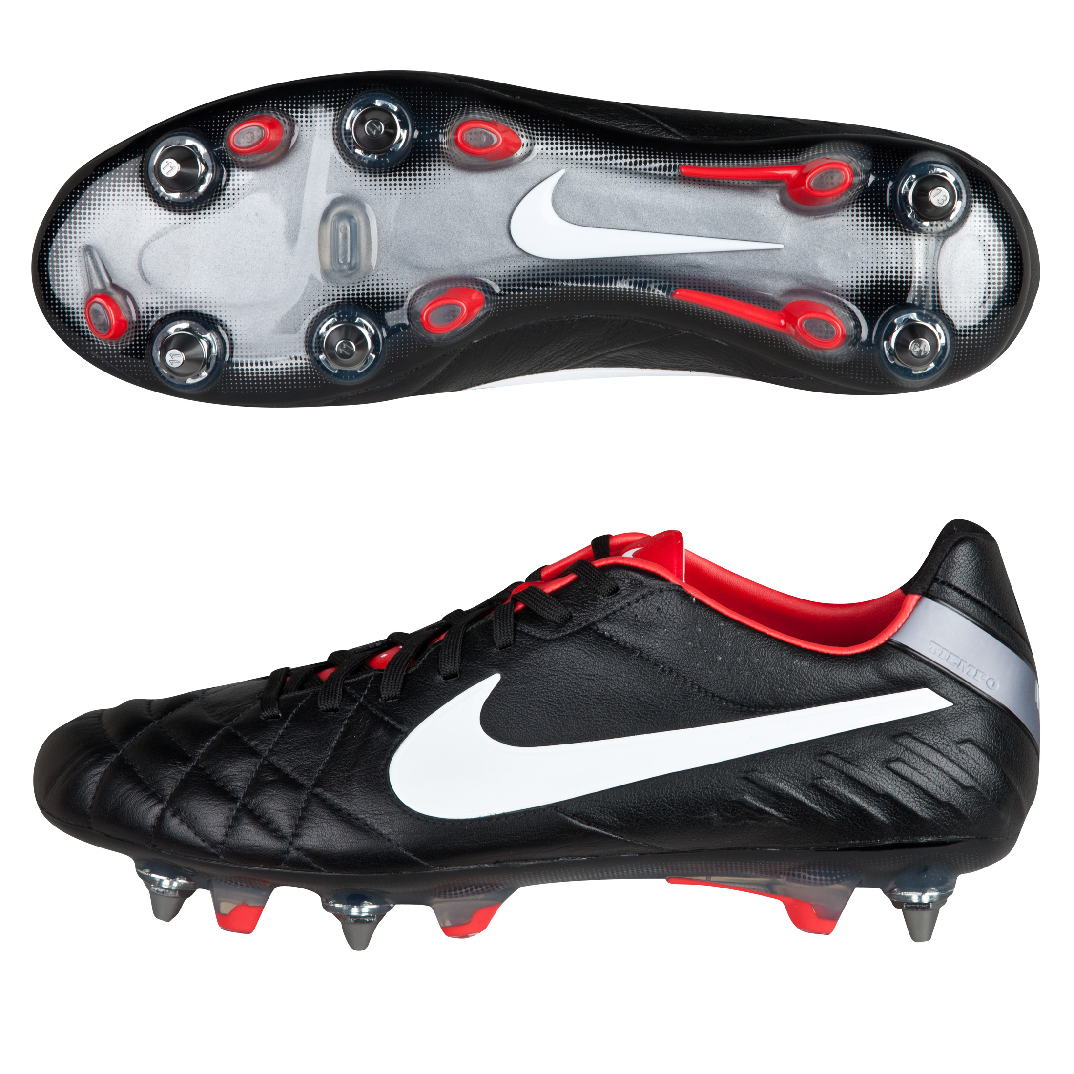 Nike Tiempo Legend IV SG-Pro Football Boots - Black/White/Challenge Red