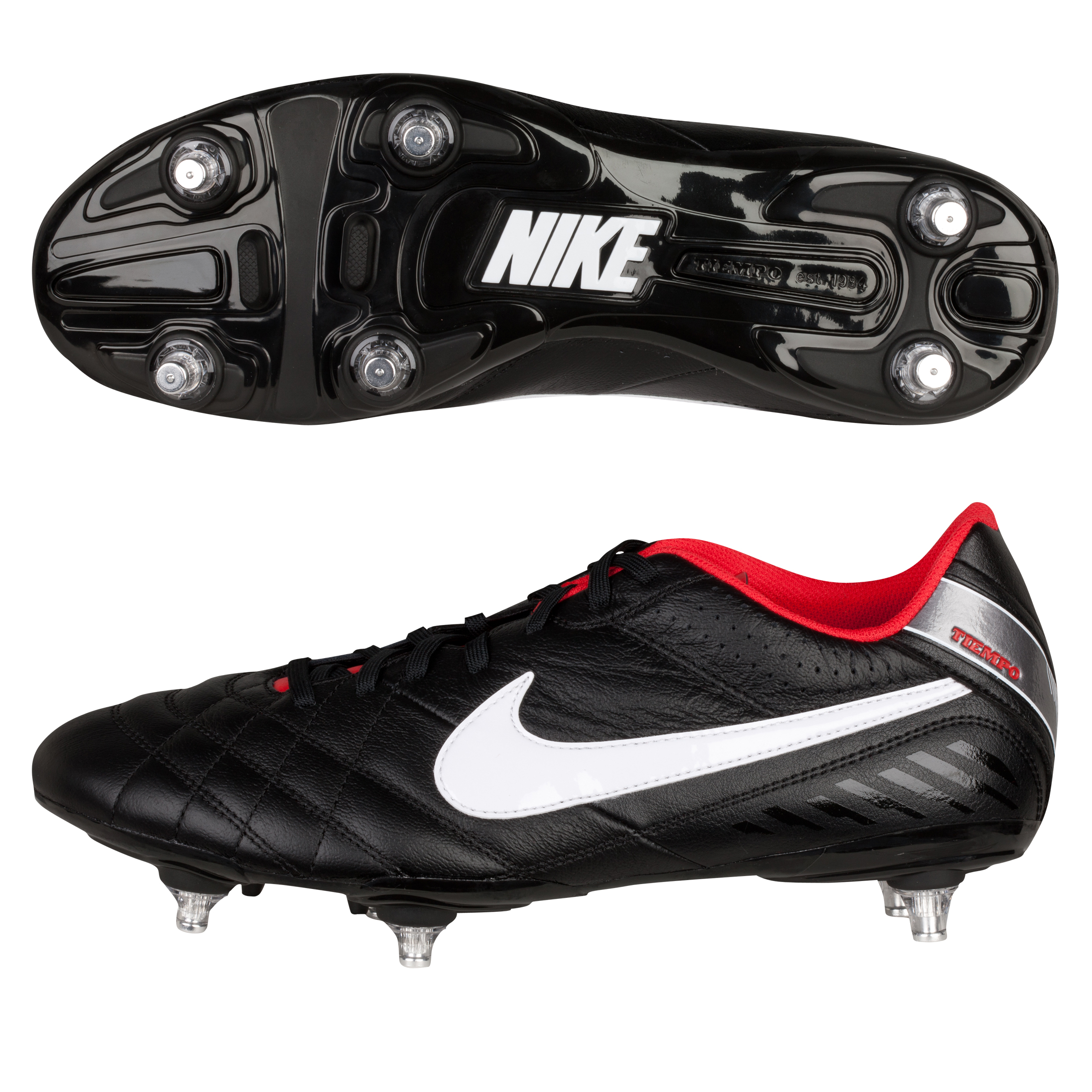 Nike Tiempo Natural IV Soft Ground Football Boots - Black/White/Challenge Red