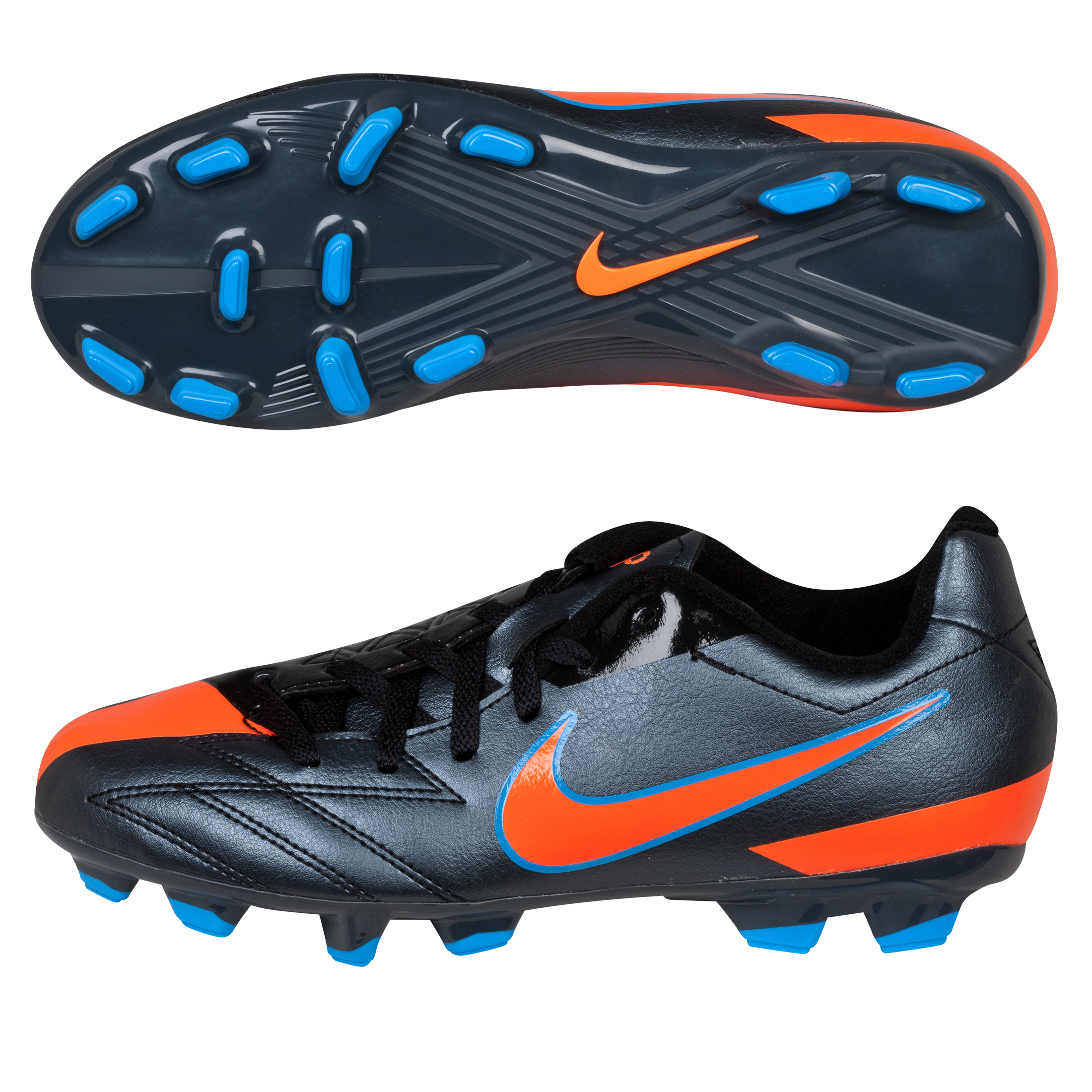 Nike Total90 Shoot IV Firm Ground Football Boots - Black/Total Orange/Blue Glow - Kids